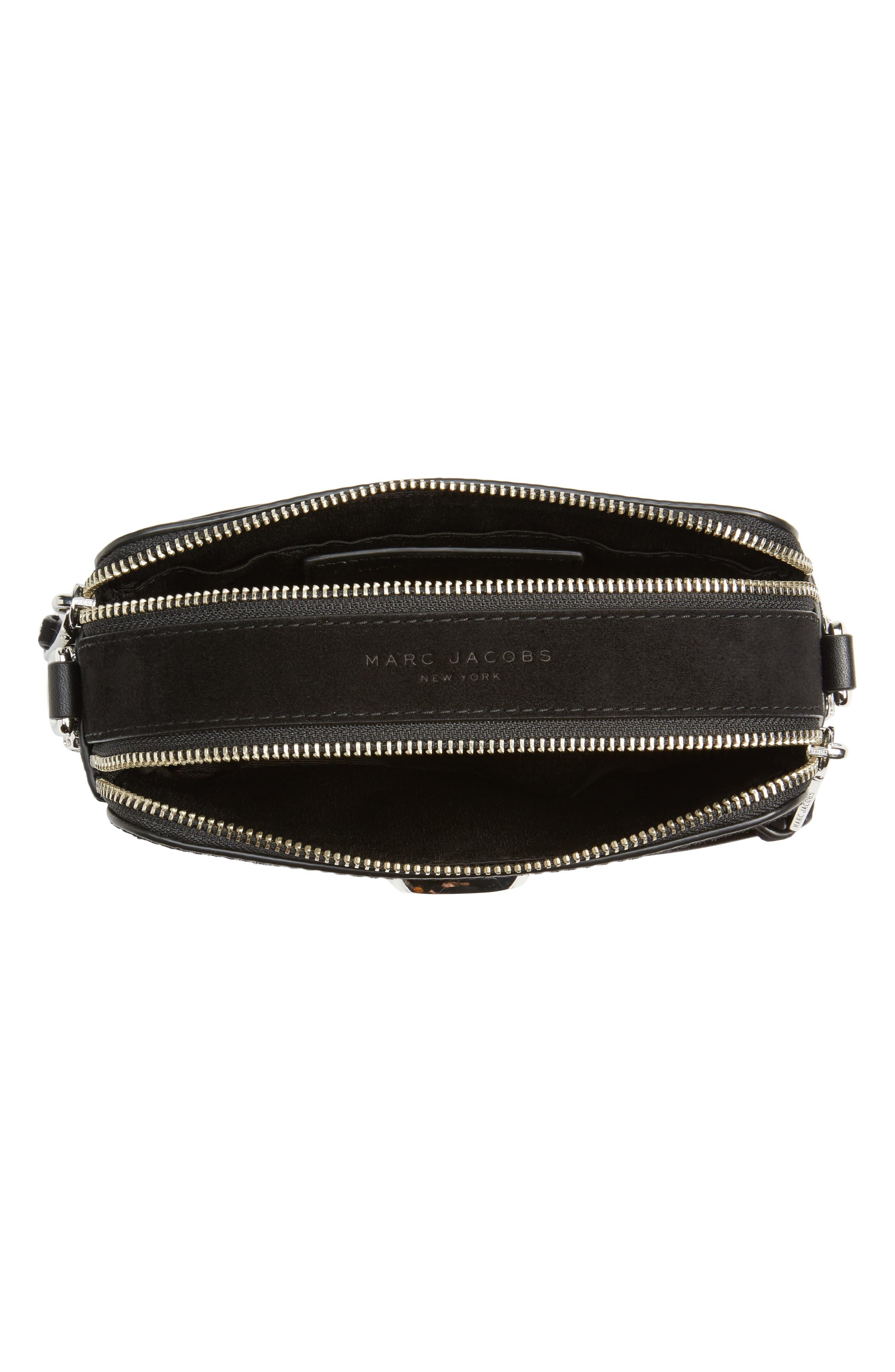 Snapshot Leather Pavé Chain Trim Crossbody Bag,                             Alternate thumbnail 4, color,                             001