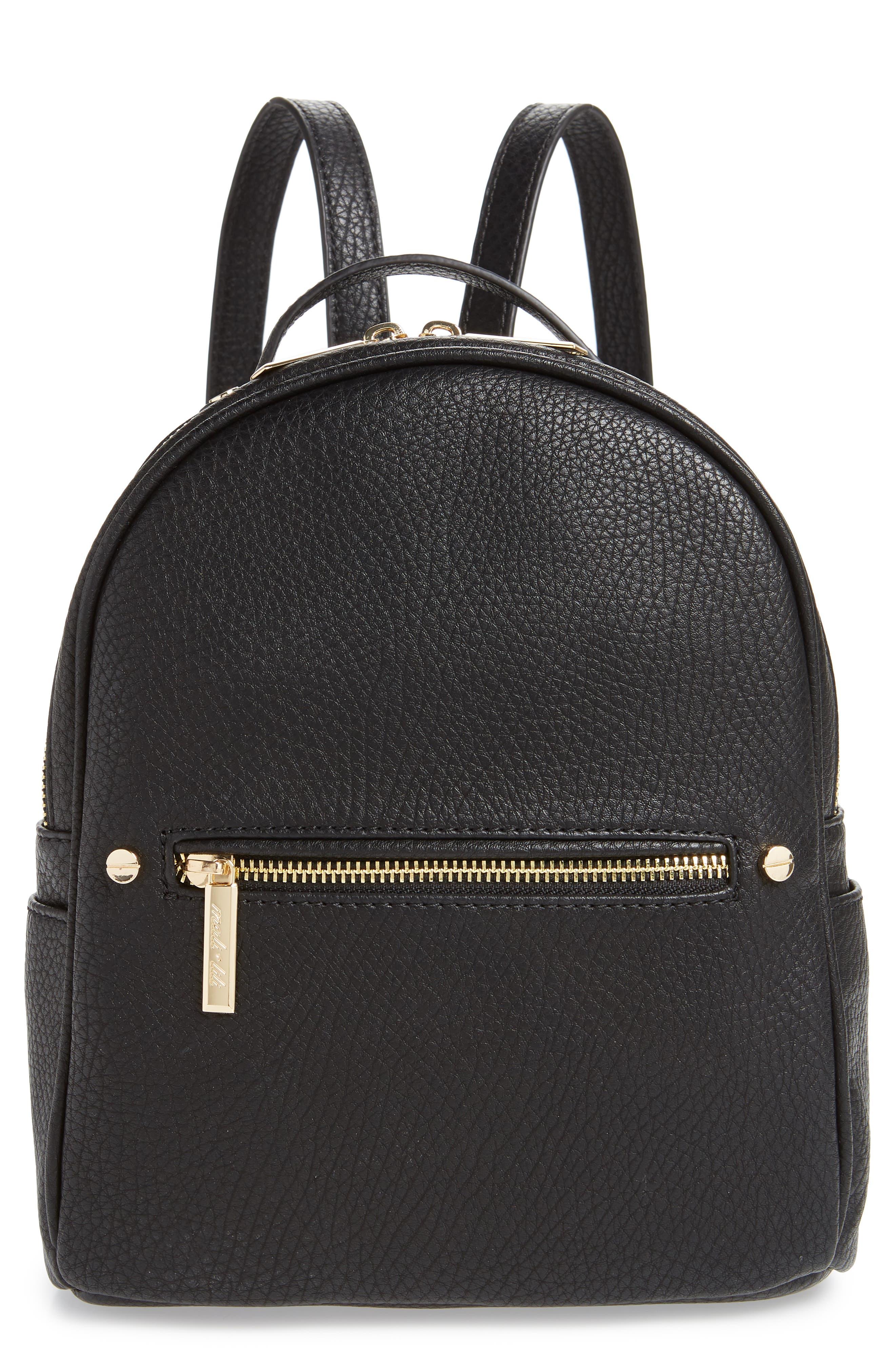 MALI + LILI Hanny Vegan Leather Backpack, Main, color, BLACK