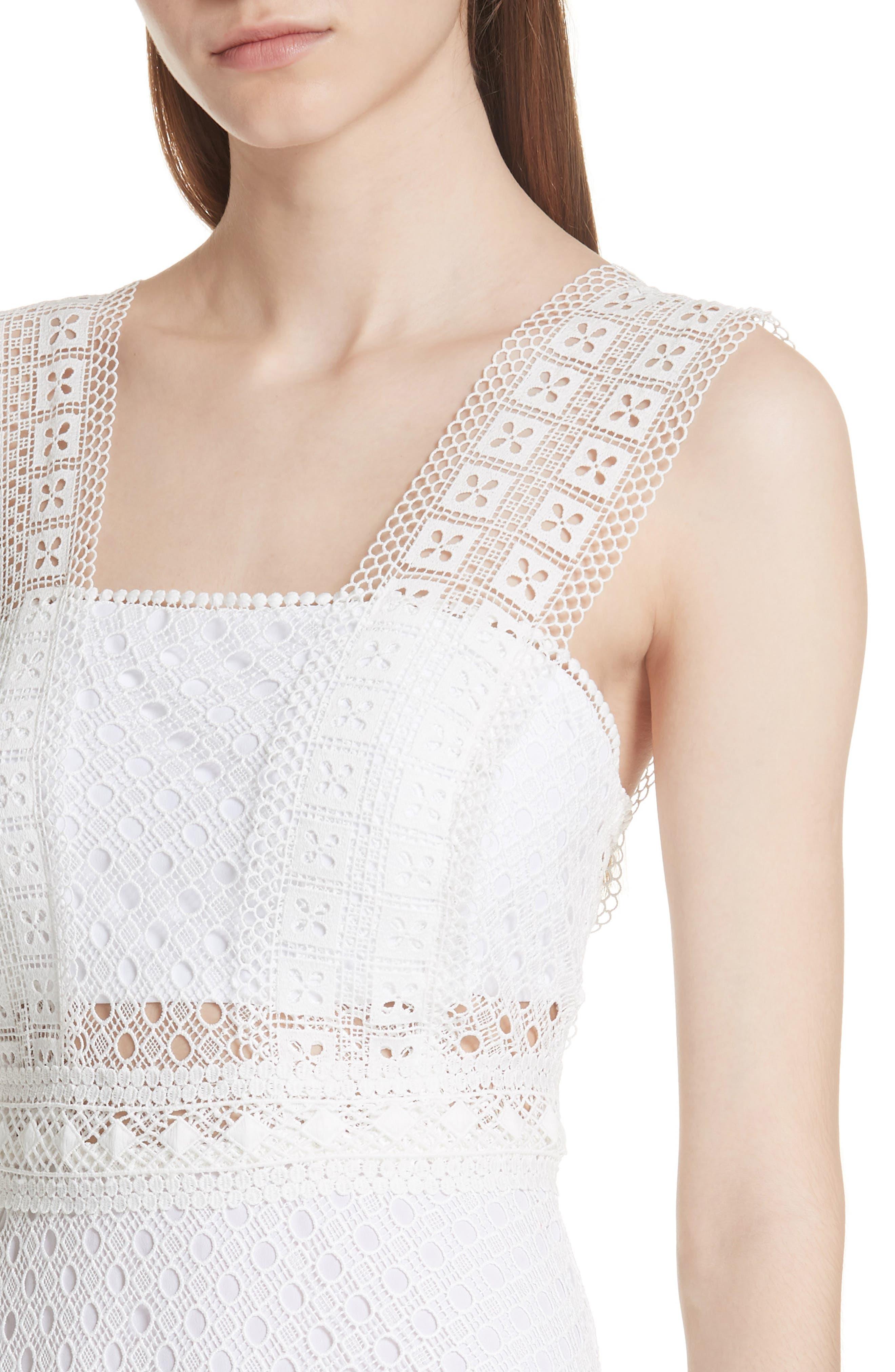 Blanc Lace Square Neck Dress,                             Alternate thumbnail 4, color,                             100