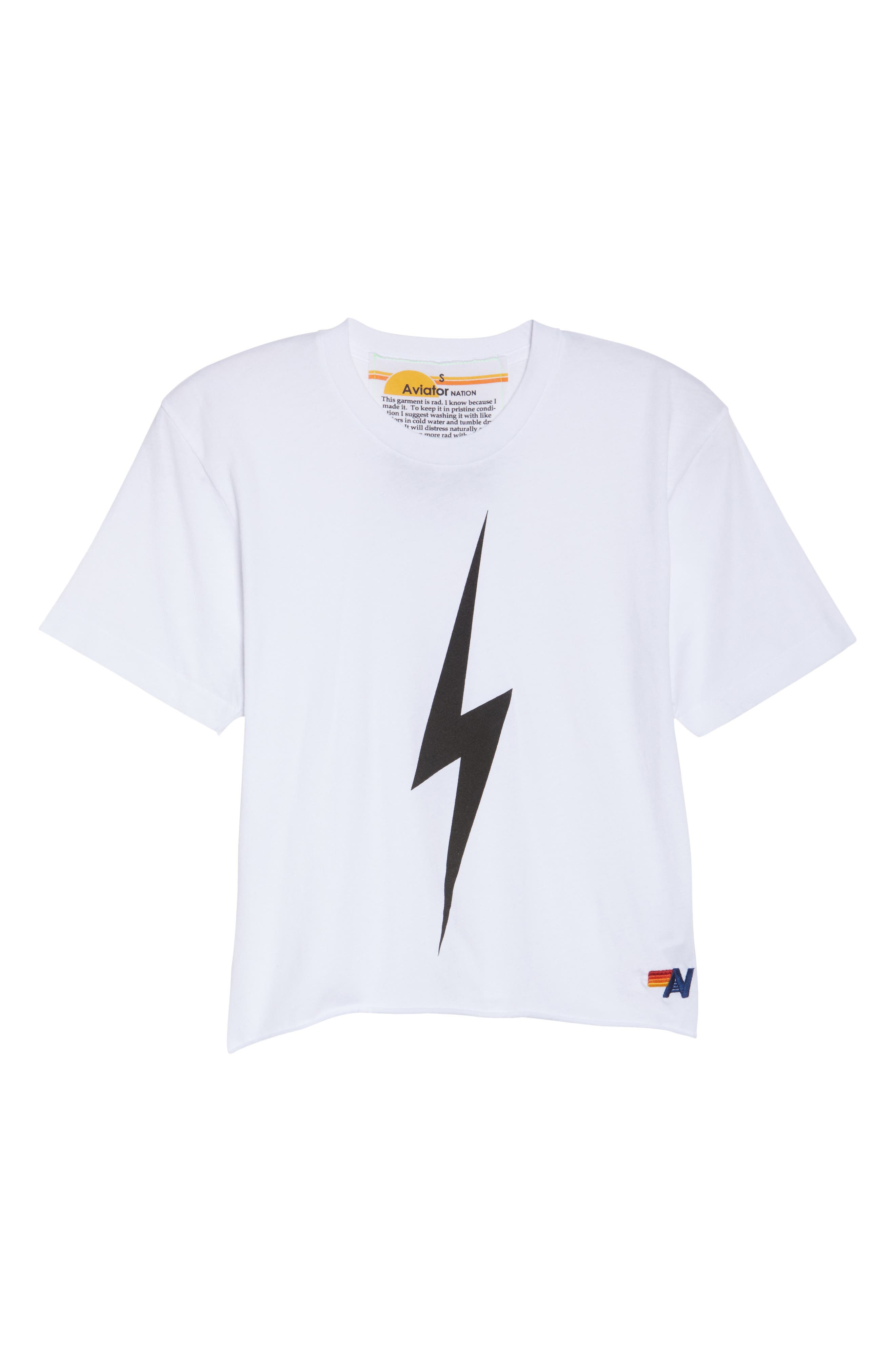 Bolt Crop Tee,                             Alternate thumbnail 7, color,                             WHITE