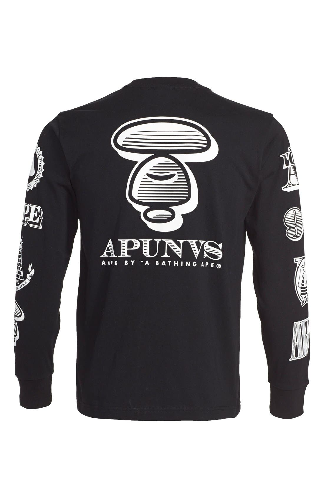 AAPE BY A BATHING APE<SUP>®</SUP>,                             Long Sleeve Graphic T-Shirt,                             Alternate thumbnail 2, color,                             001