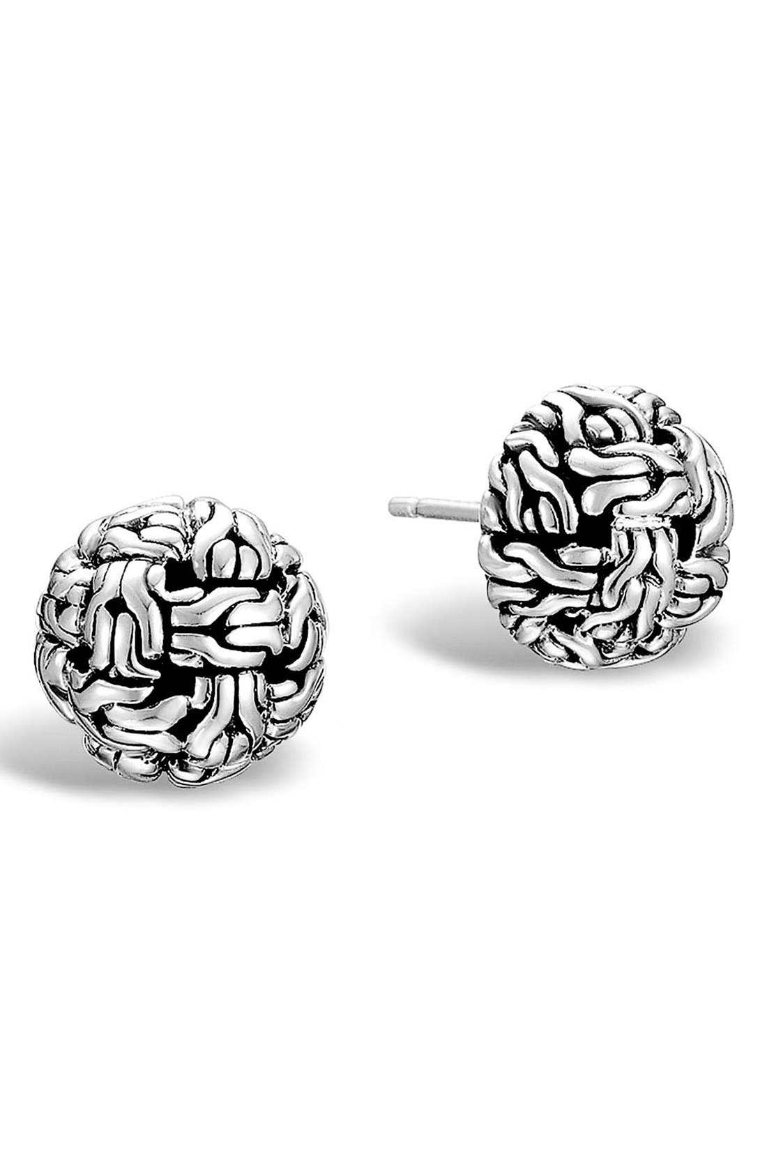 'Classic Chain' Stud Earrings,                         Main,                         color, STERLING SILVER