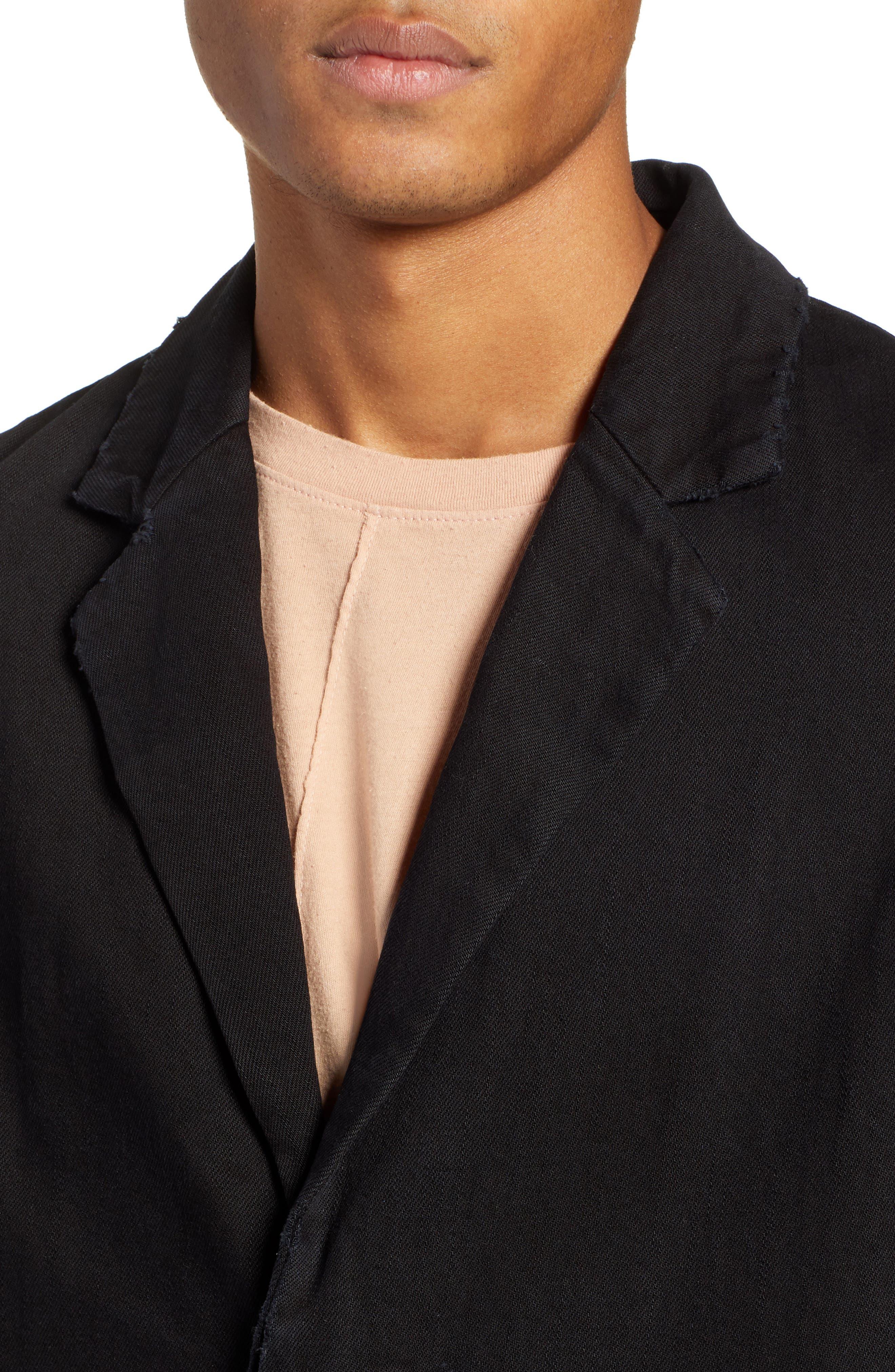Relaxed Fit Long Denim Coat,                             Alternate thumbnail 4, color,                             BLACK INDIGO