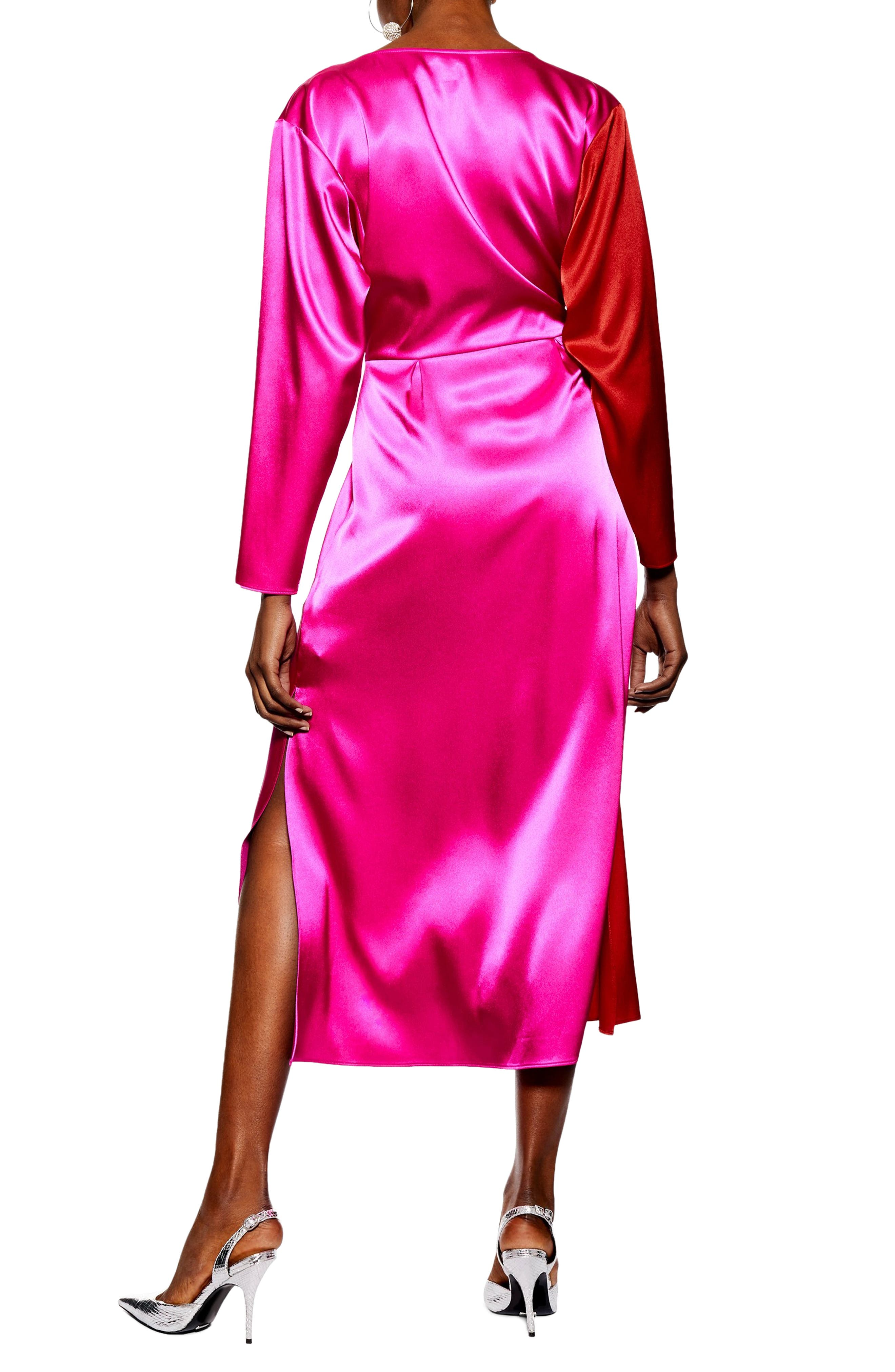 TOPSHOP,                             Colorblock Dress,                             Alternate thumbnail 2, color,                             PINK MULTI