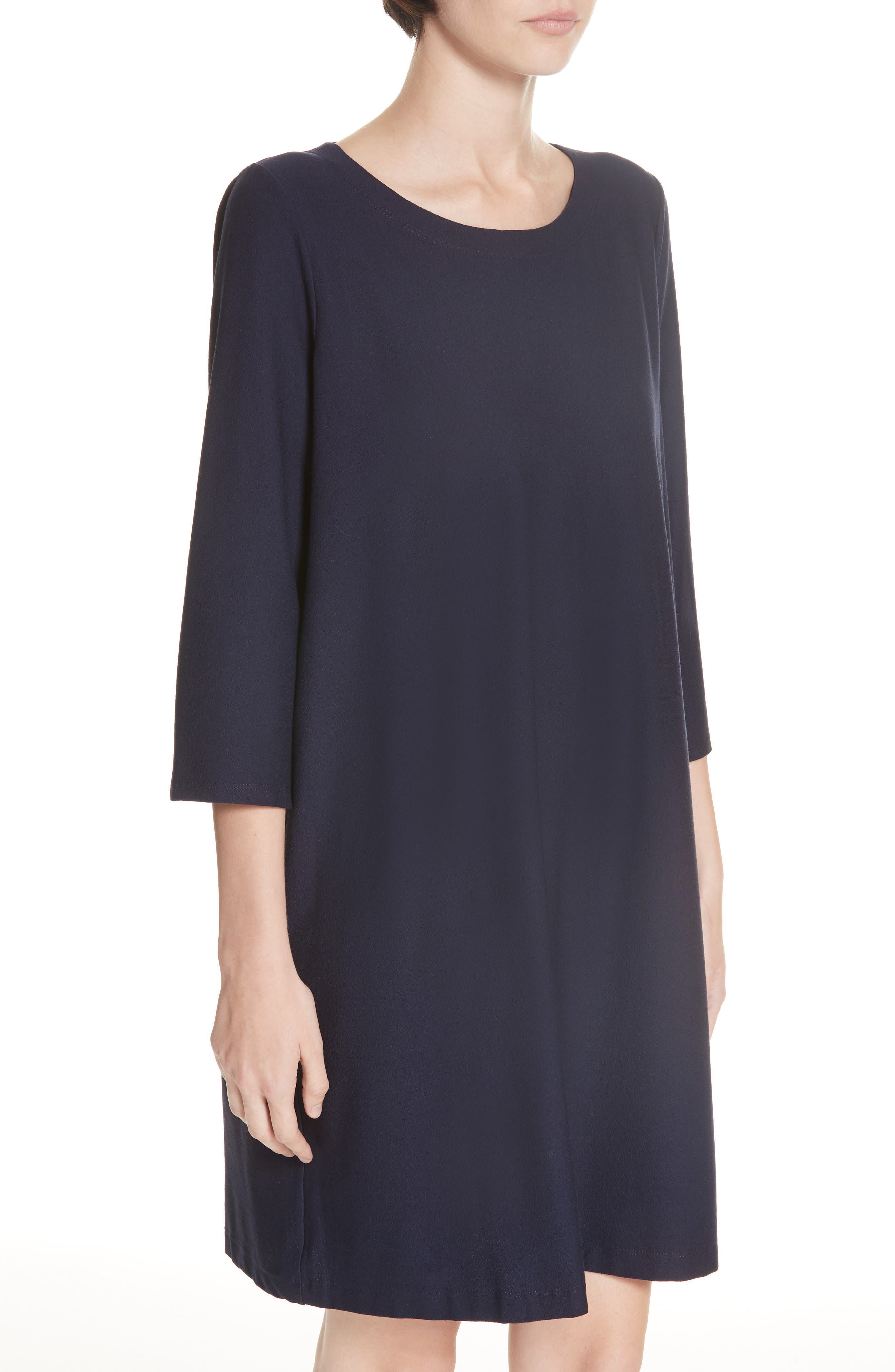 Scoop Neck Knee Length Shift Dress,                             Alternate thumbnail 4, color,                             MIDNIGHT