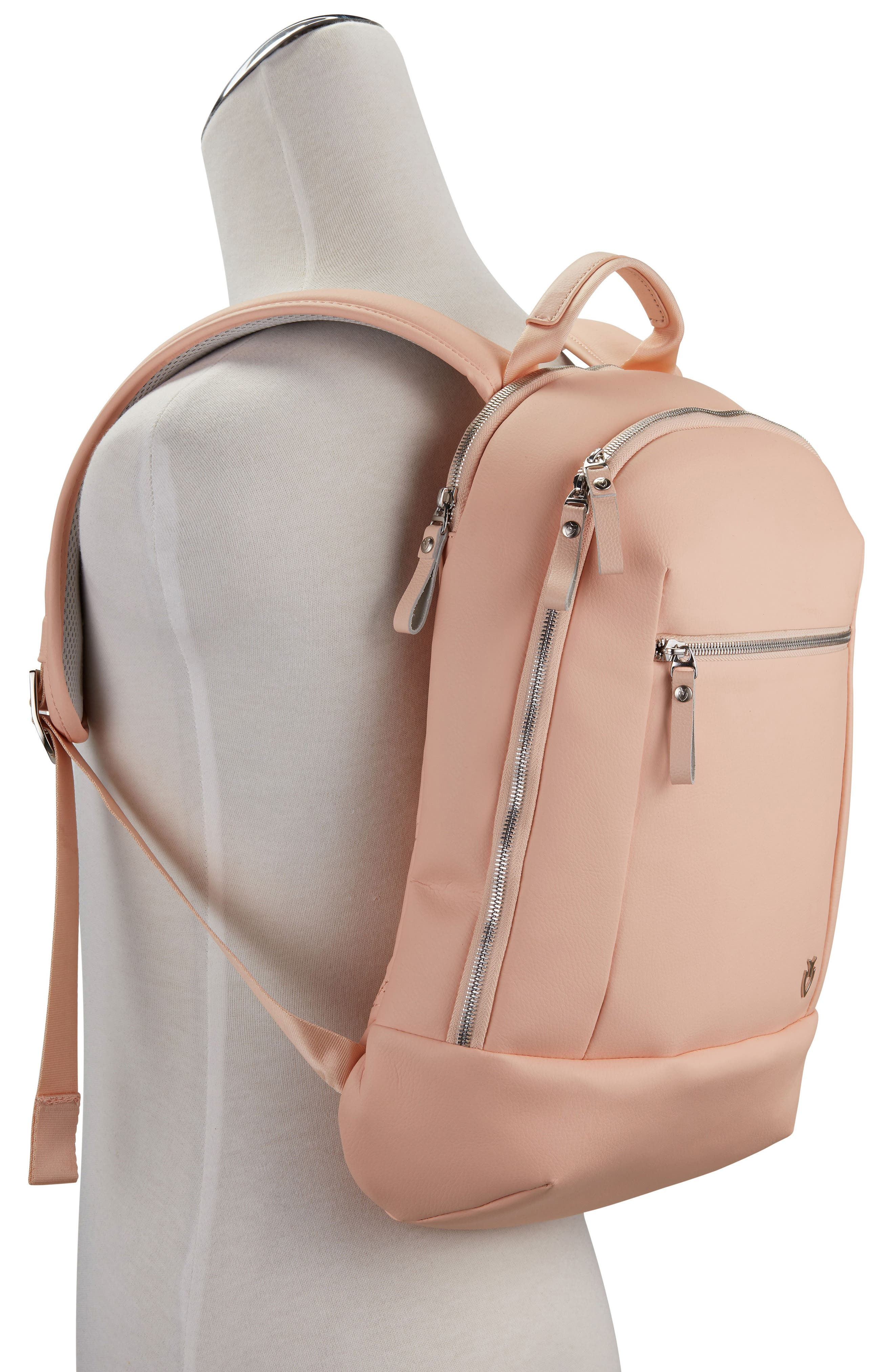 Mini Faux Leather Backpack,                             Alternate thumbnail 3, color,                             ROSE PINK