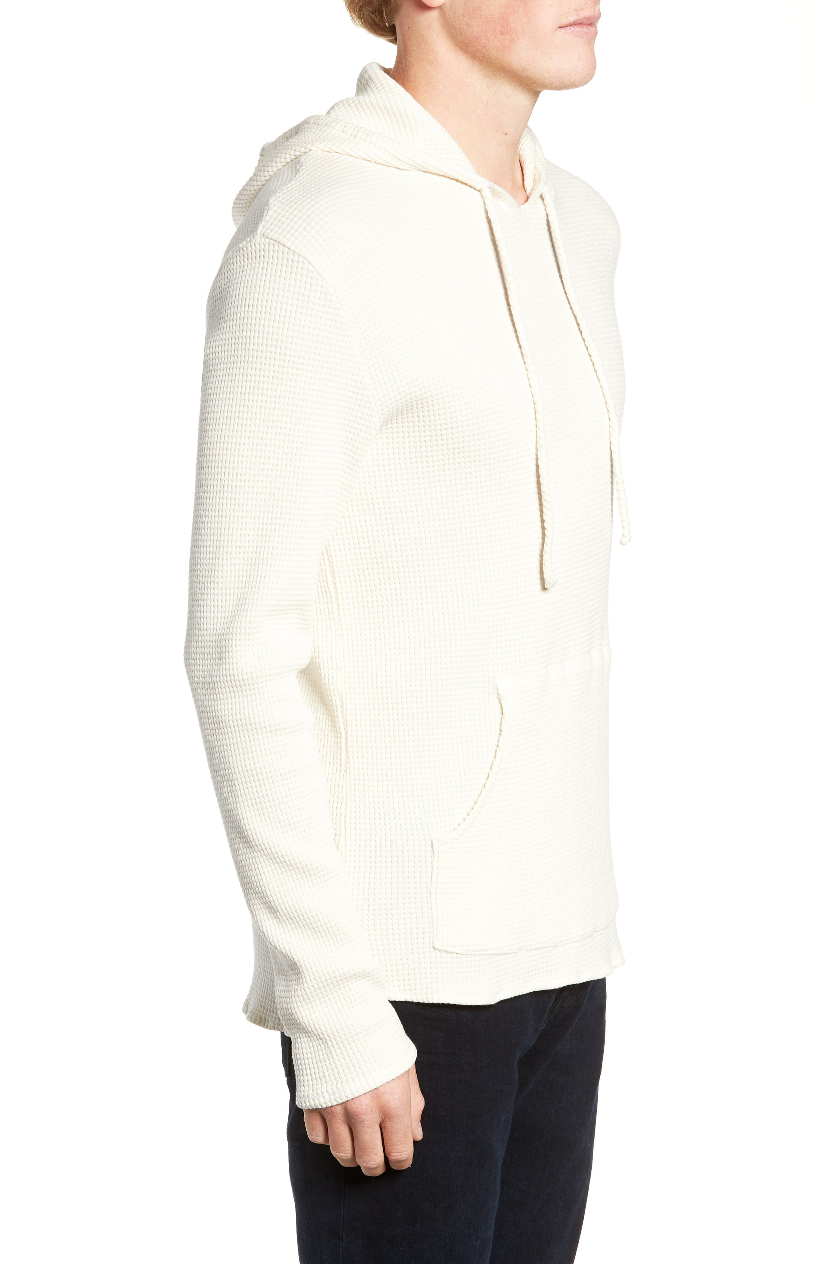 Thermal Knit Pullover Hoodie,                             Alternate thumbnail 3, color,                             WHITE