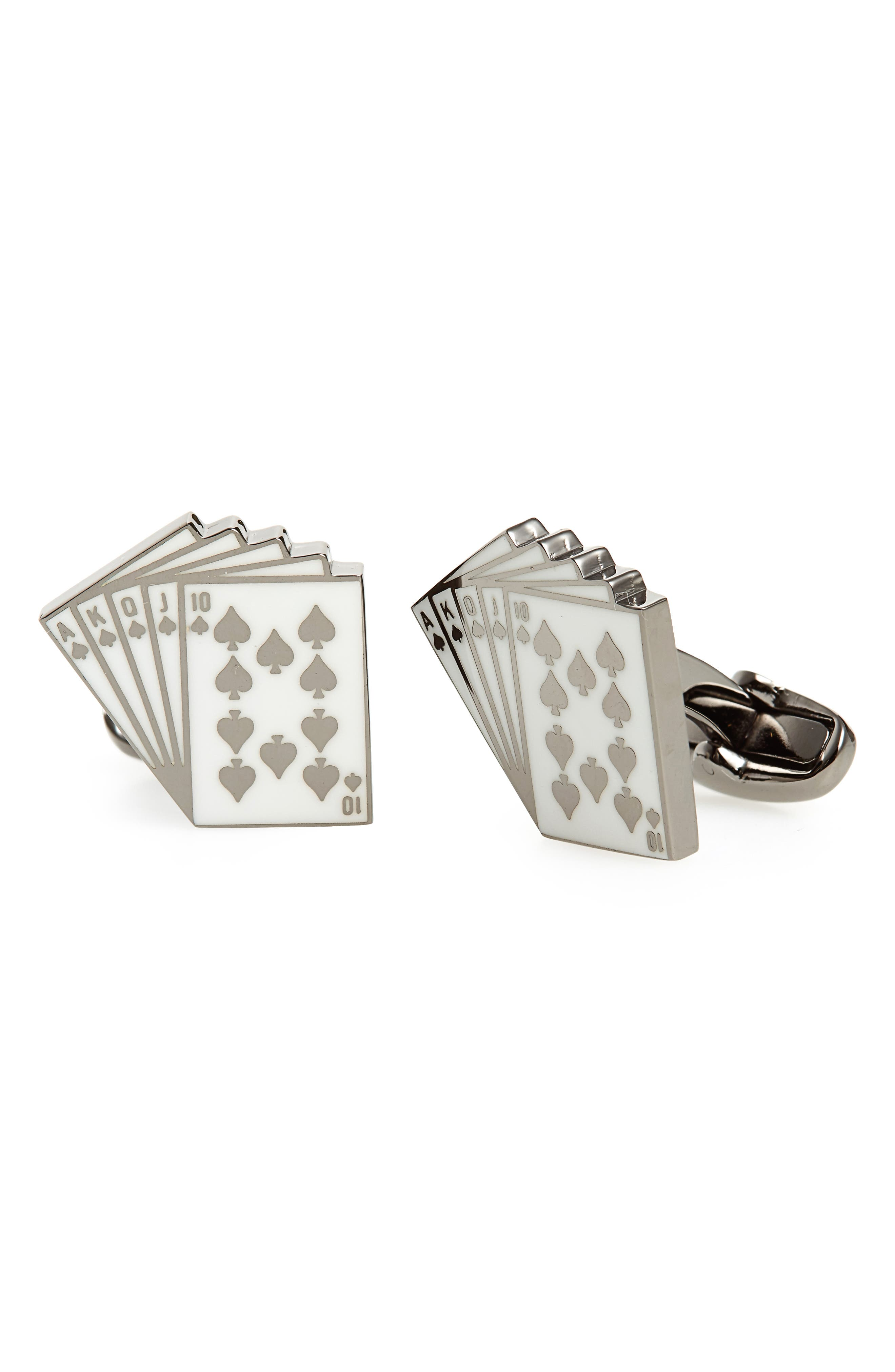 Royal Flush Cards Cuff Links,                         Main,                         color, 100
