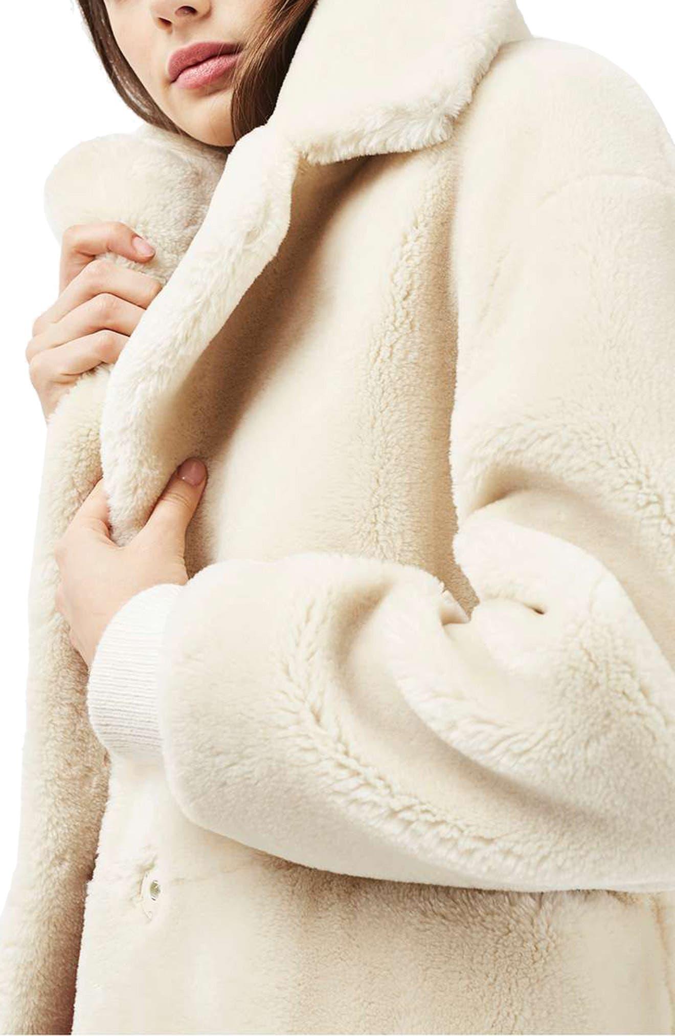 TOPSHOP,                             Polar Bear Faux Fur Coat,                             Alternate thumbnail 3, color,                             900