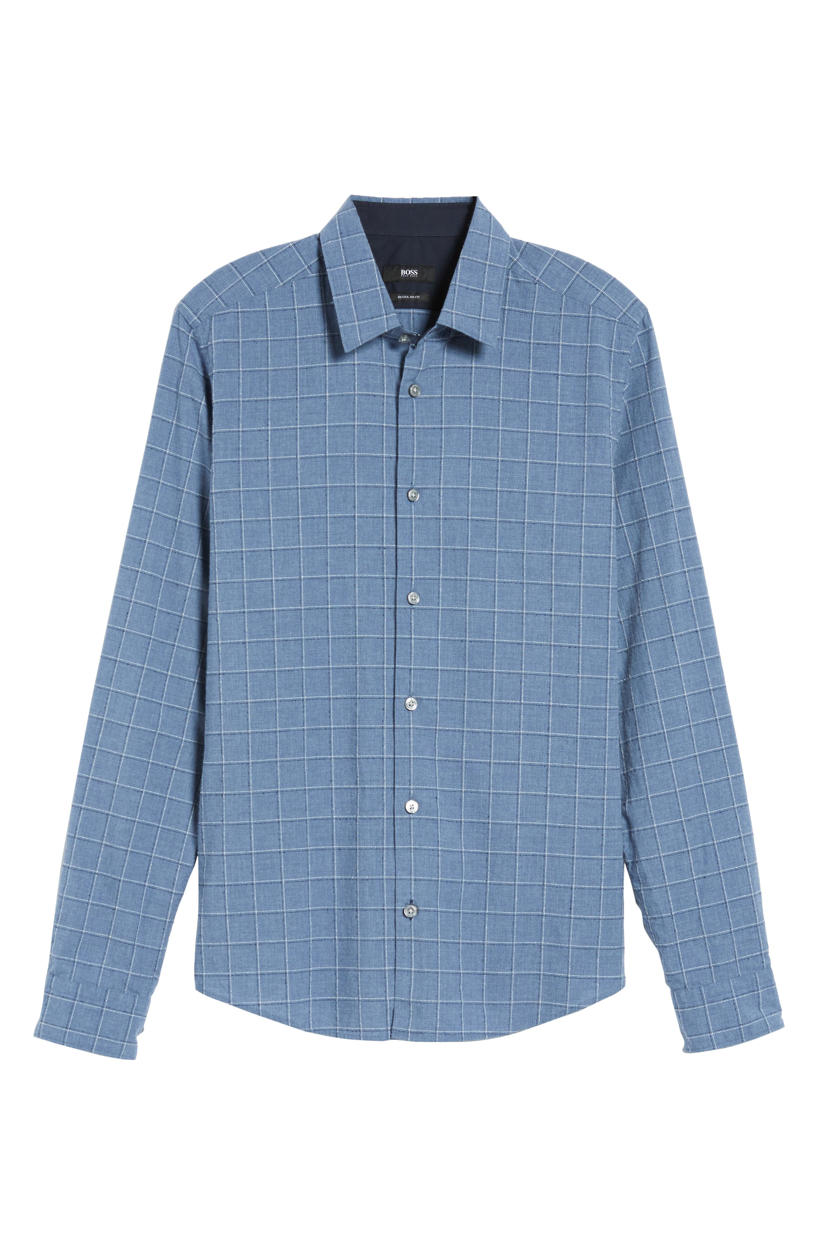 BOSS Lance Slim Fit Check Sport Shirt,                             Alternate thumbnail 6, color,                             489