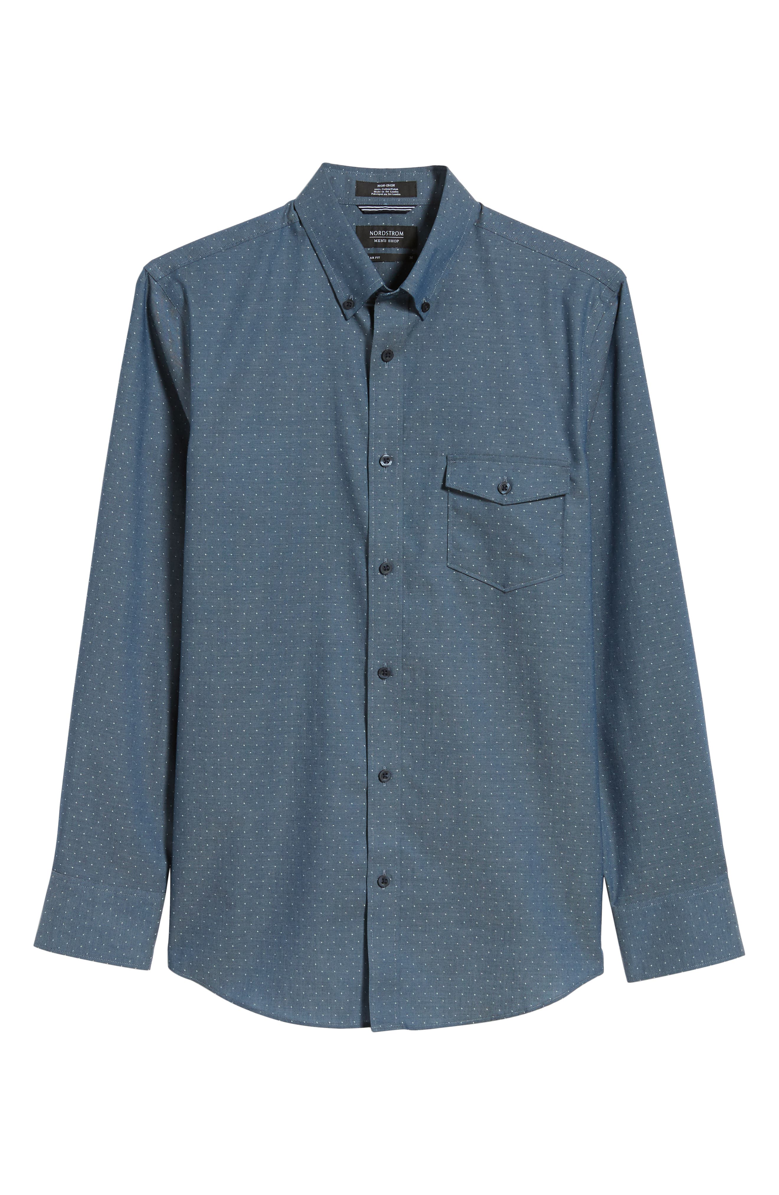 Regular Fit Dobby No-Iron Sport Shirt,                             Alternate thumbnail 6, color,                             NAVY ARMADA CHAMBRAY DOBBY