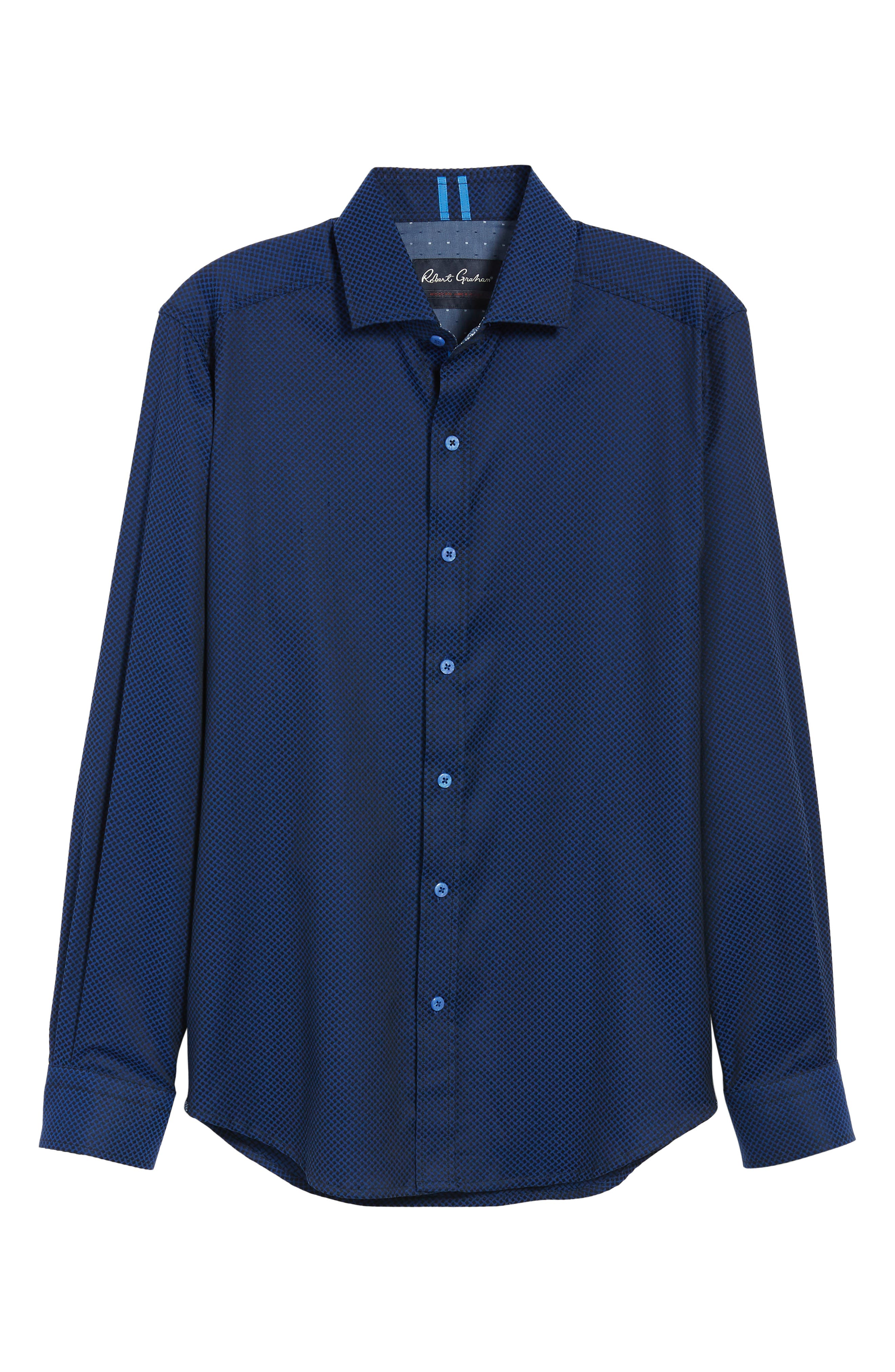 Anson Tailored Fit Jacquard Sport Shirt,                             Alternate thumbnail 5, color,                             NAVY