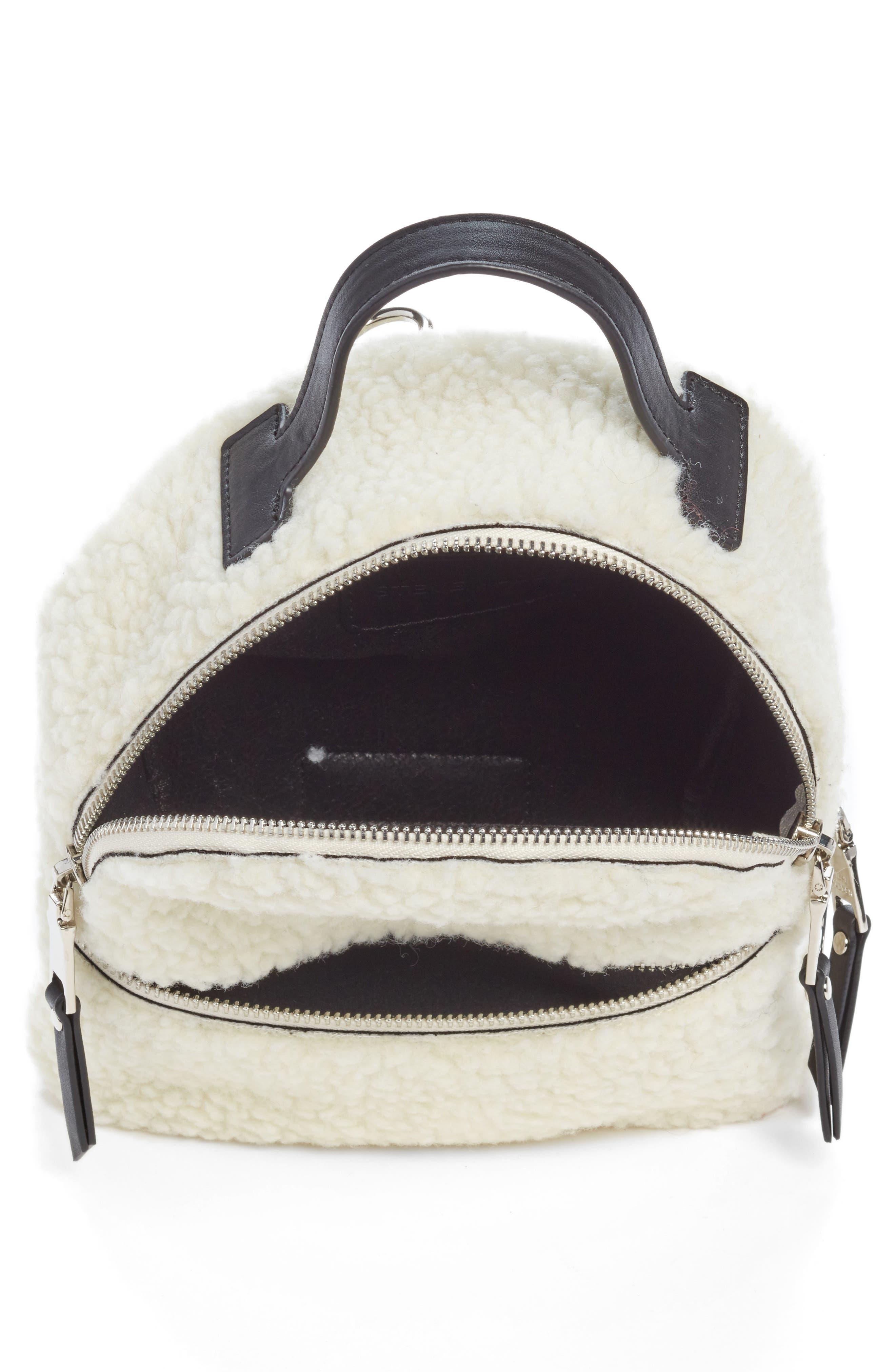 Mini Faux Fur Convertible Backpack,                             Alternate thumbnail 4, color,                             NATURAL