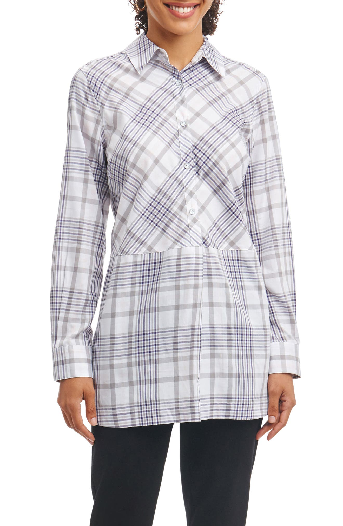 Maddy Plaid Tunic Shirt,                         Main,                         color, 037