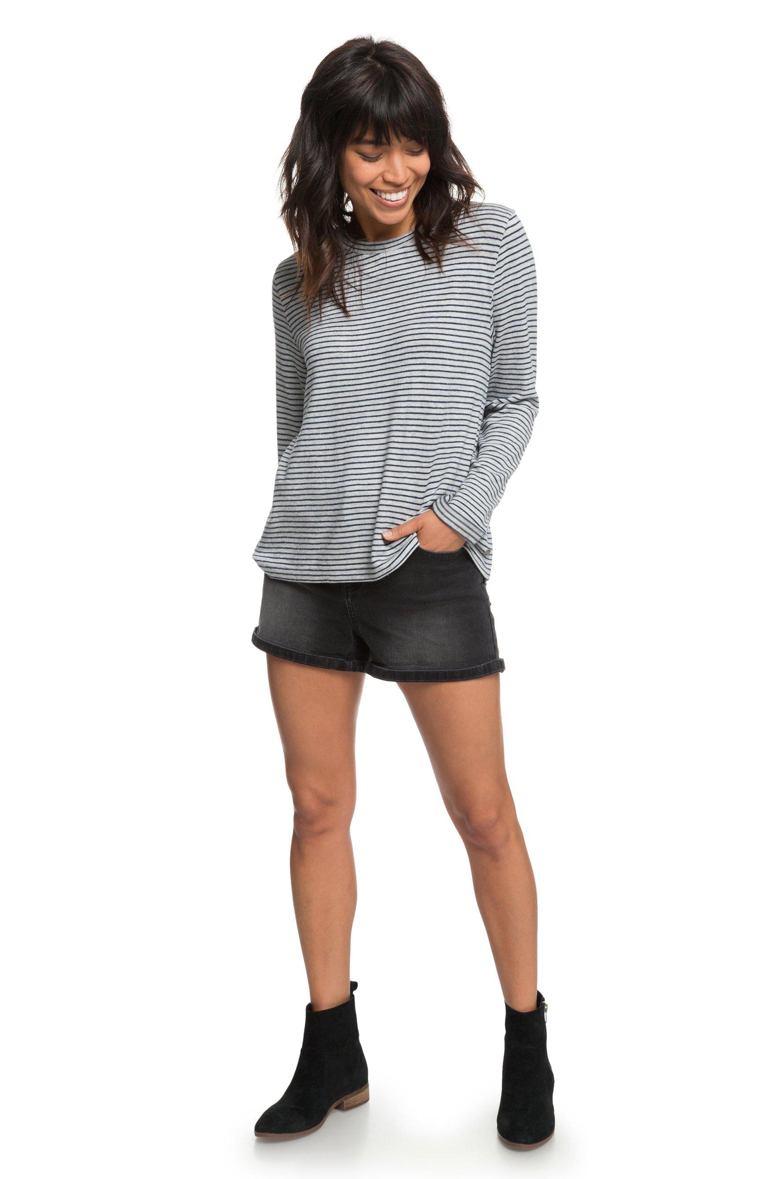 Chasing You Stripe Knit Top,                             Alternate thumbnail 4, color,                             HERITAGE HEATHER THIN STRIPES