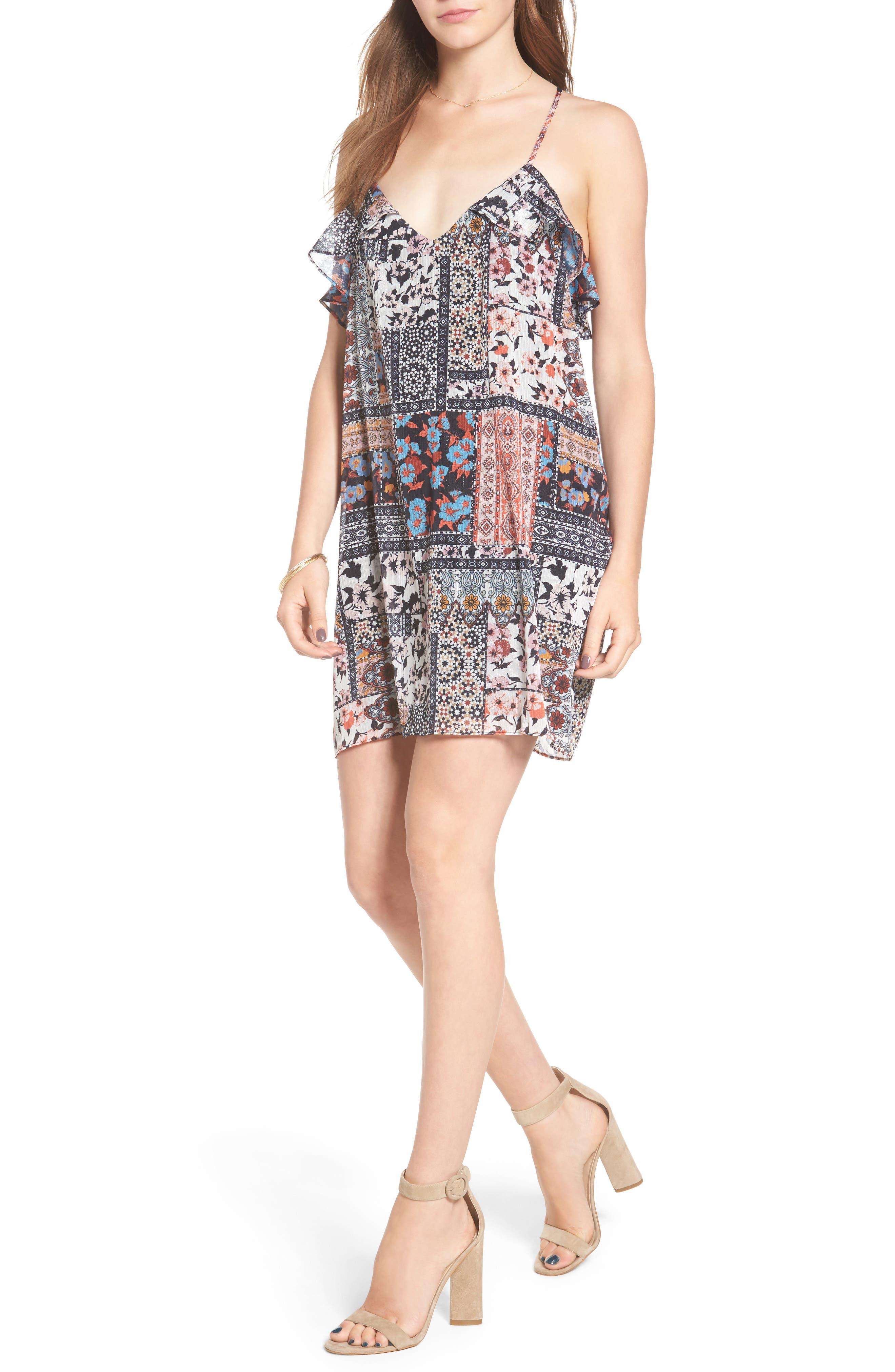 Margot Ruffle Minidress,                         Main,                         color, 001