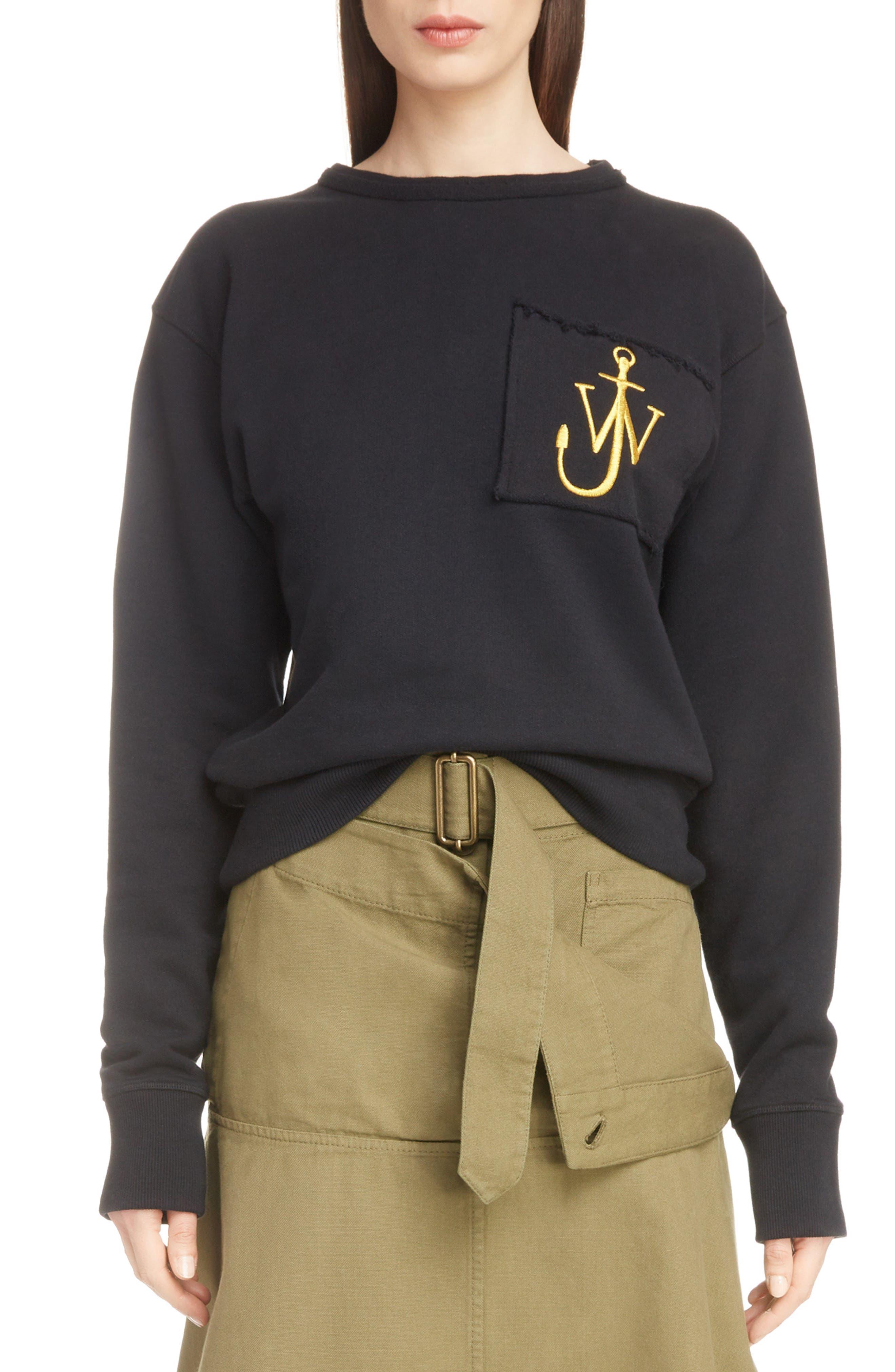 Raw Edge Logo Sweatshirt,                         Main,                         color, WASHED BLACK