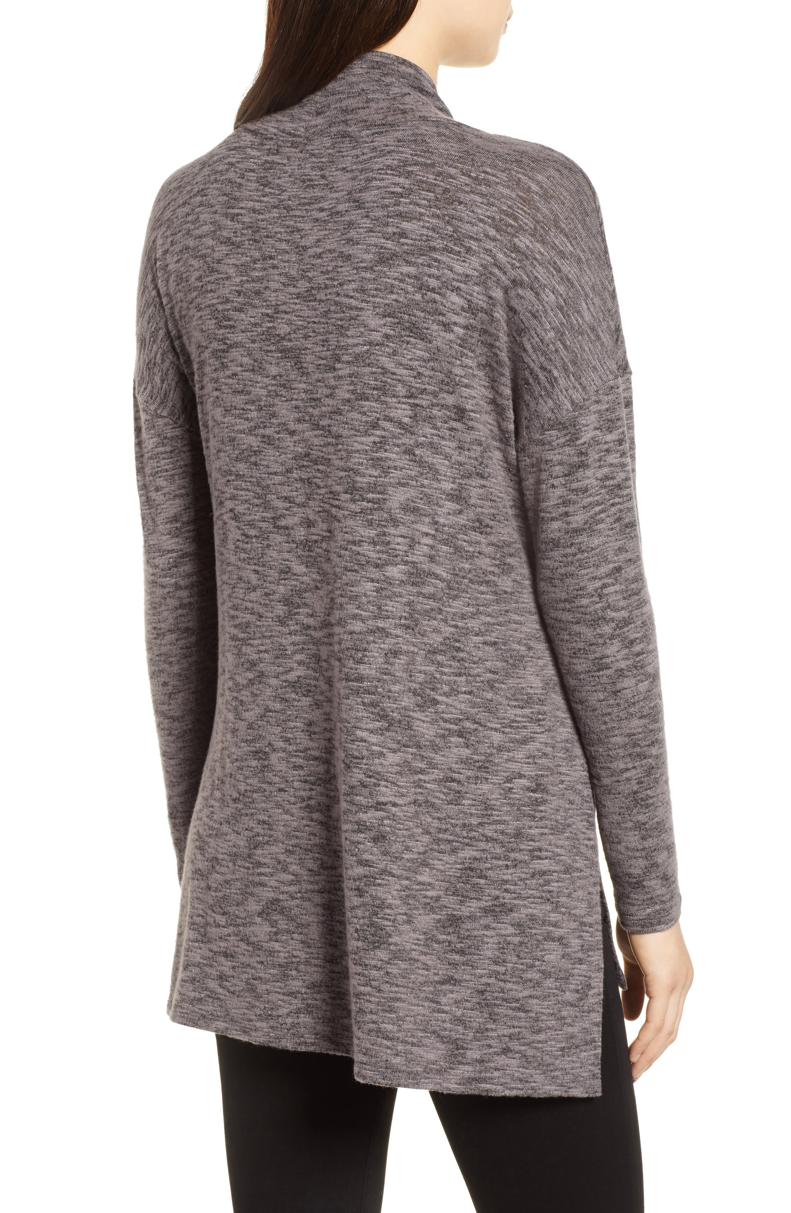 Cowl Neck Tunic Top,                             Alternate thumbnail 2, color,                             CHARCOAL
