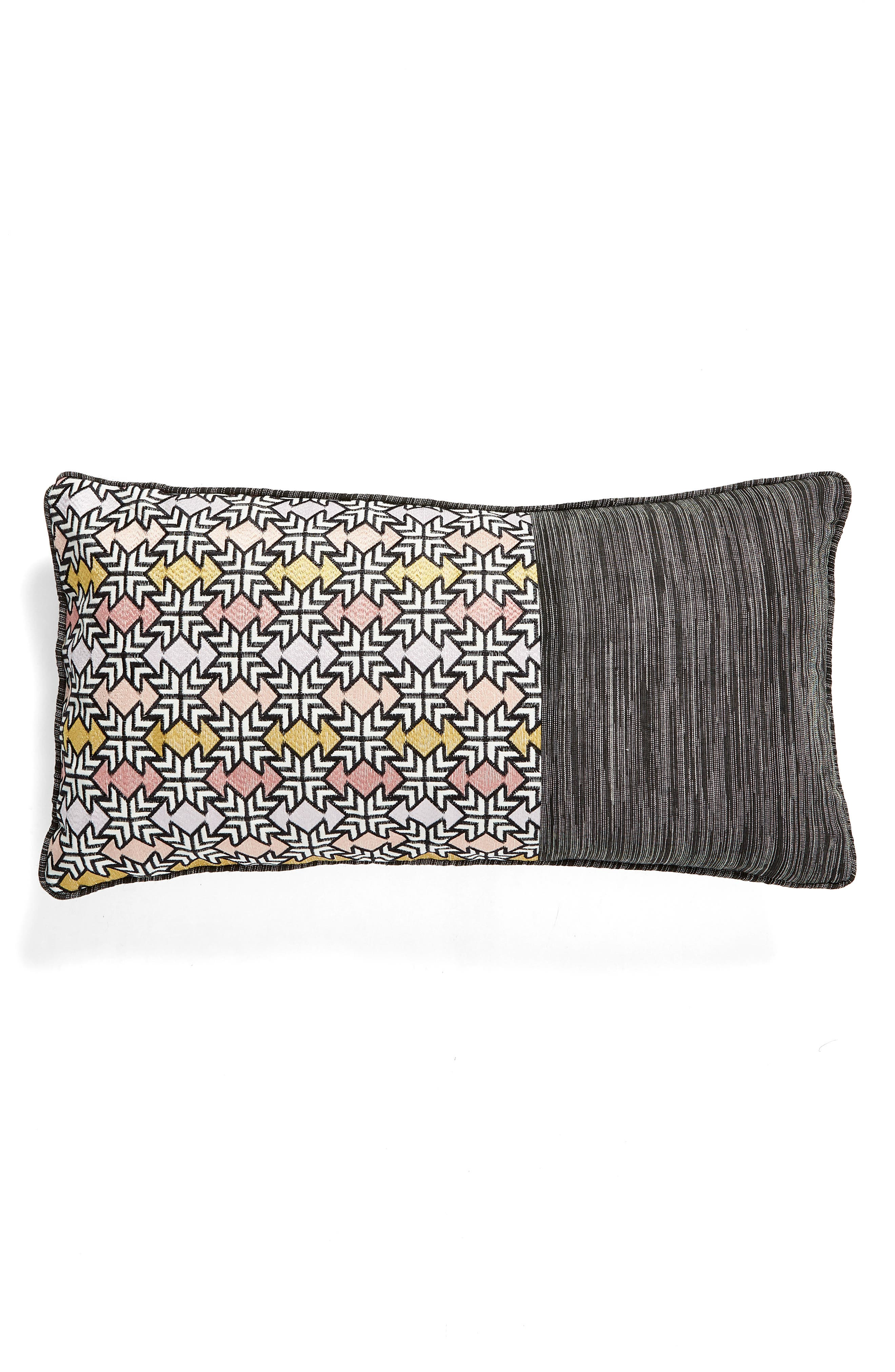 Quincy Pieced Embroidered Accent Pillow, Main, color, GREY MULTI