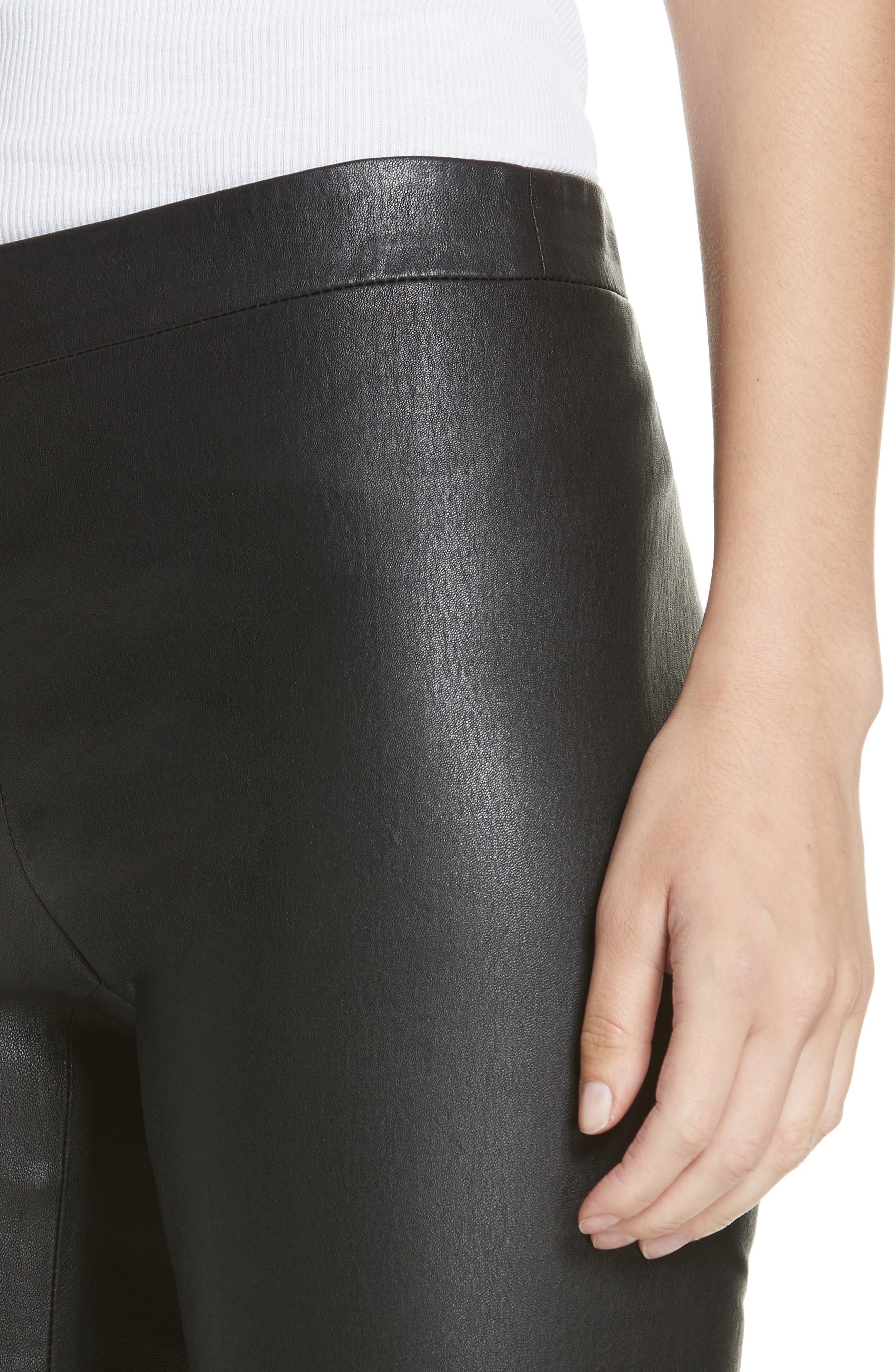 Leather Zip Leggings,                             Alternate thumbnail 4, color,                             BLACK