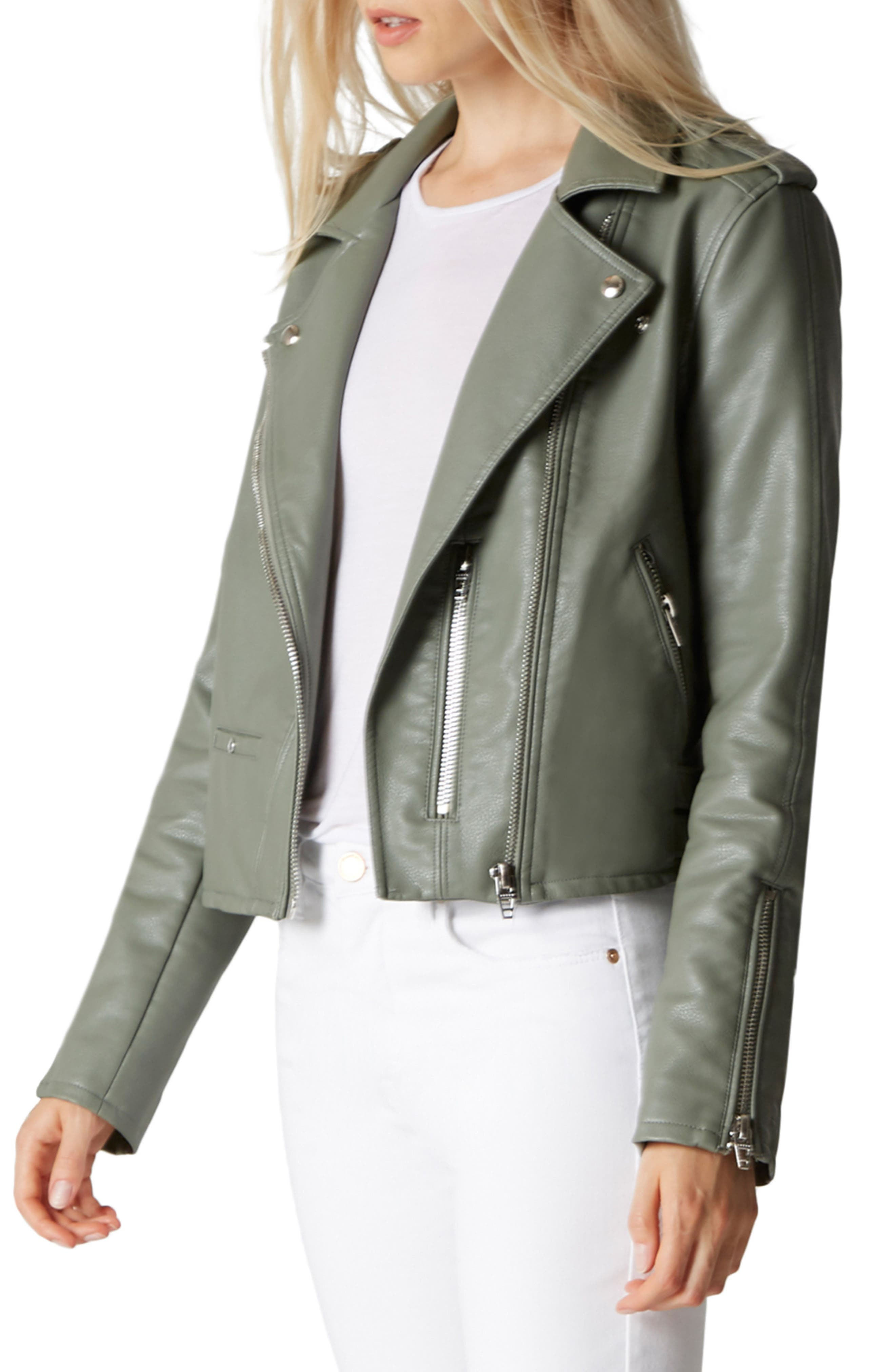 Faux Leather Moto Jacket,                             Main thumbnail 1, color,                             300