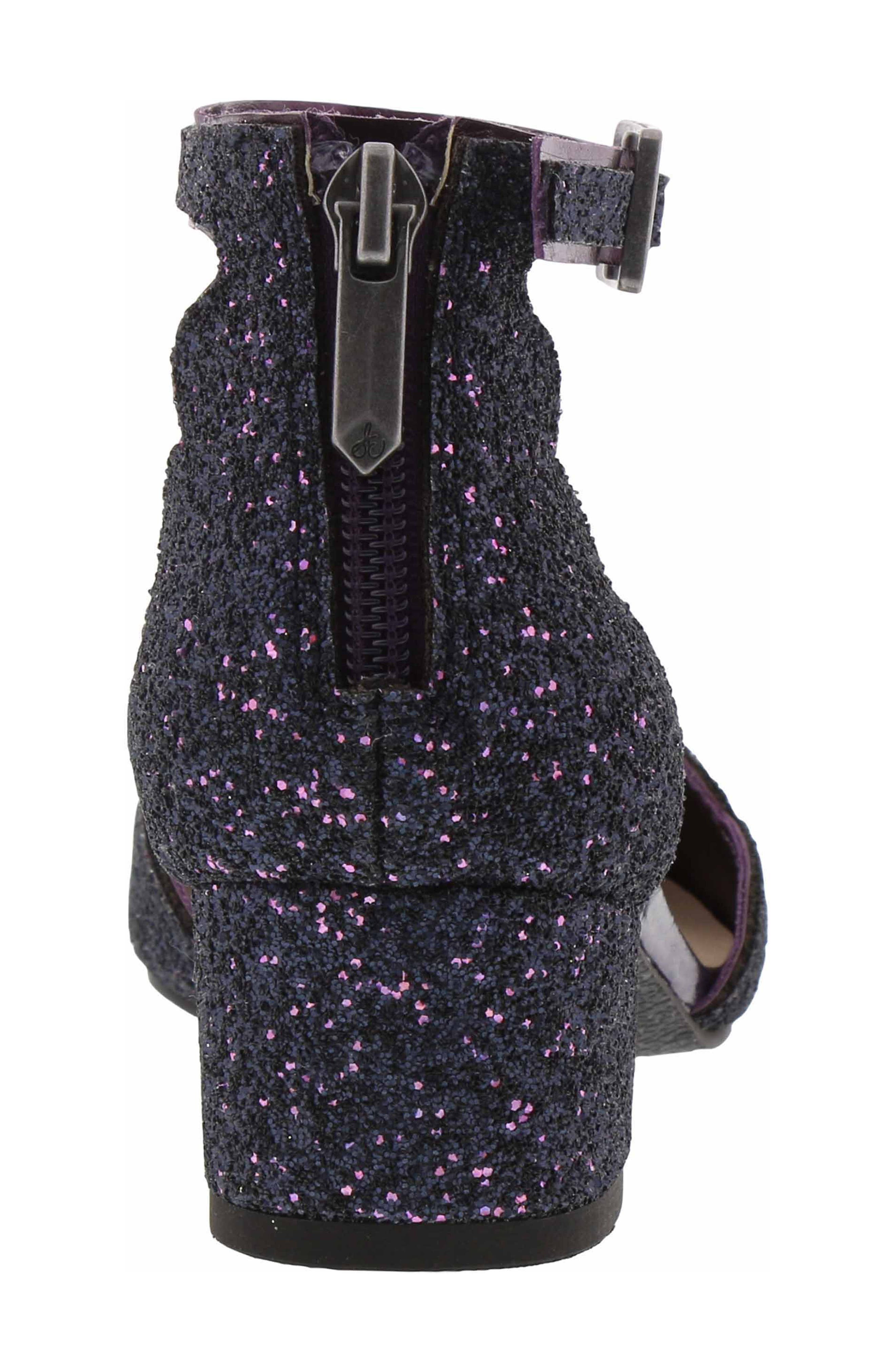 Evelyn Inara Glitter Ankle Strap Pump,                             Alternate thumbnail 6, color,                             PURPLE MULTI