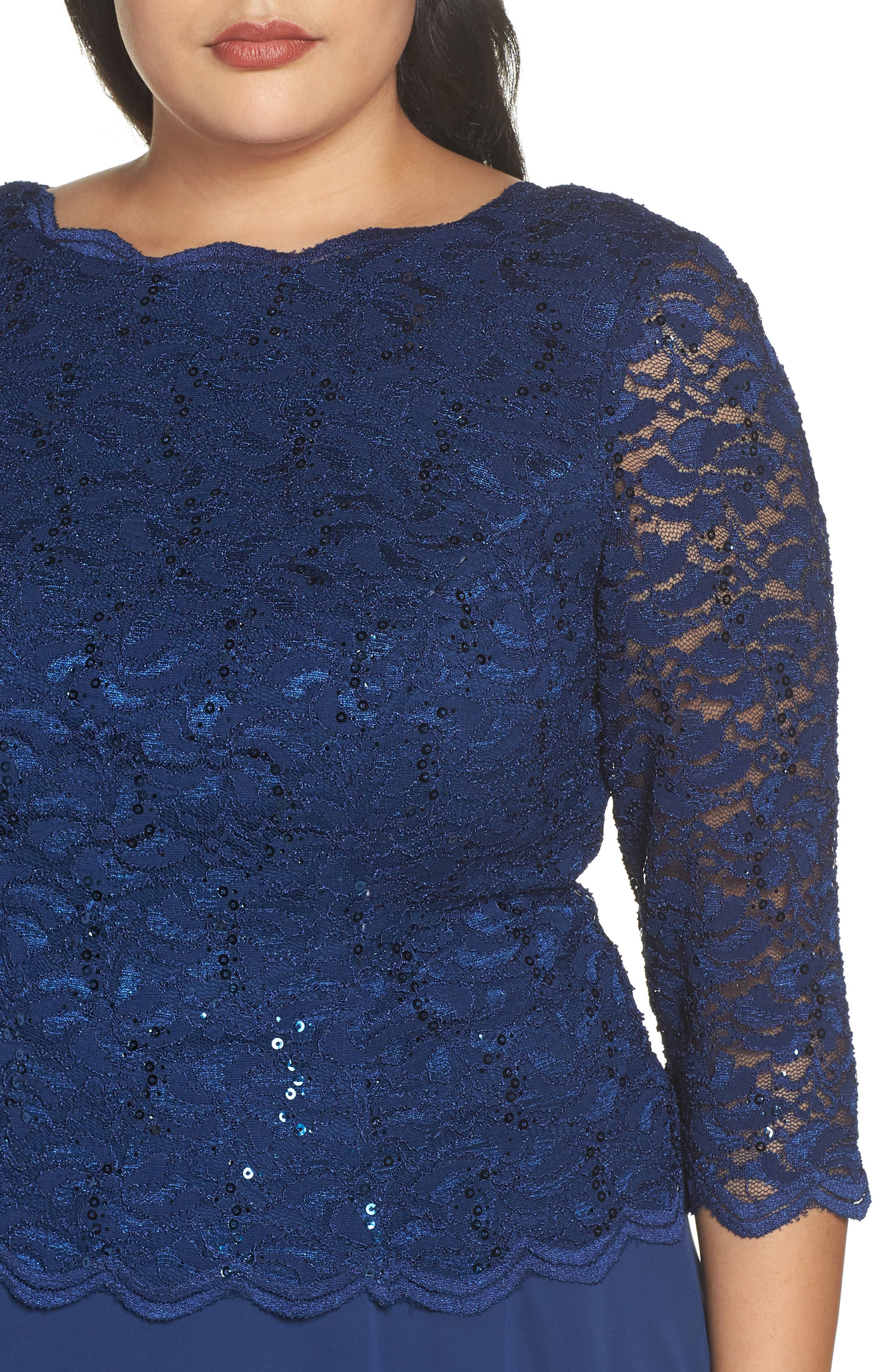 Mock Two-Piece Tea Length Dress,                             Alternate thumbnail 4, color,                             COBALT