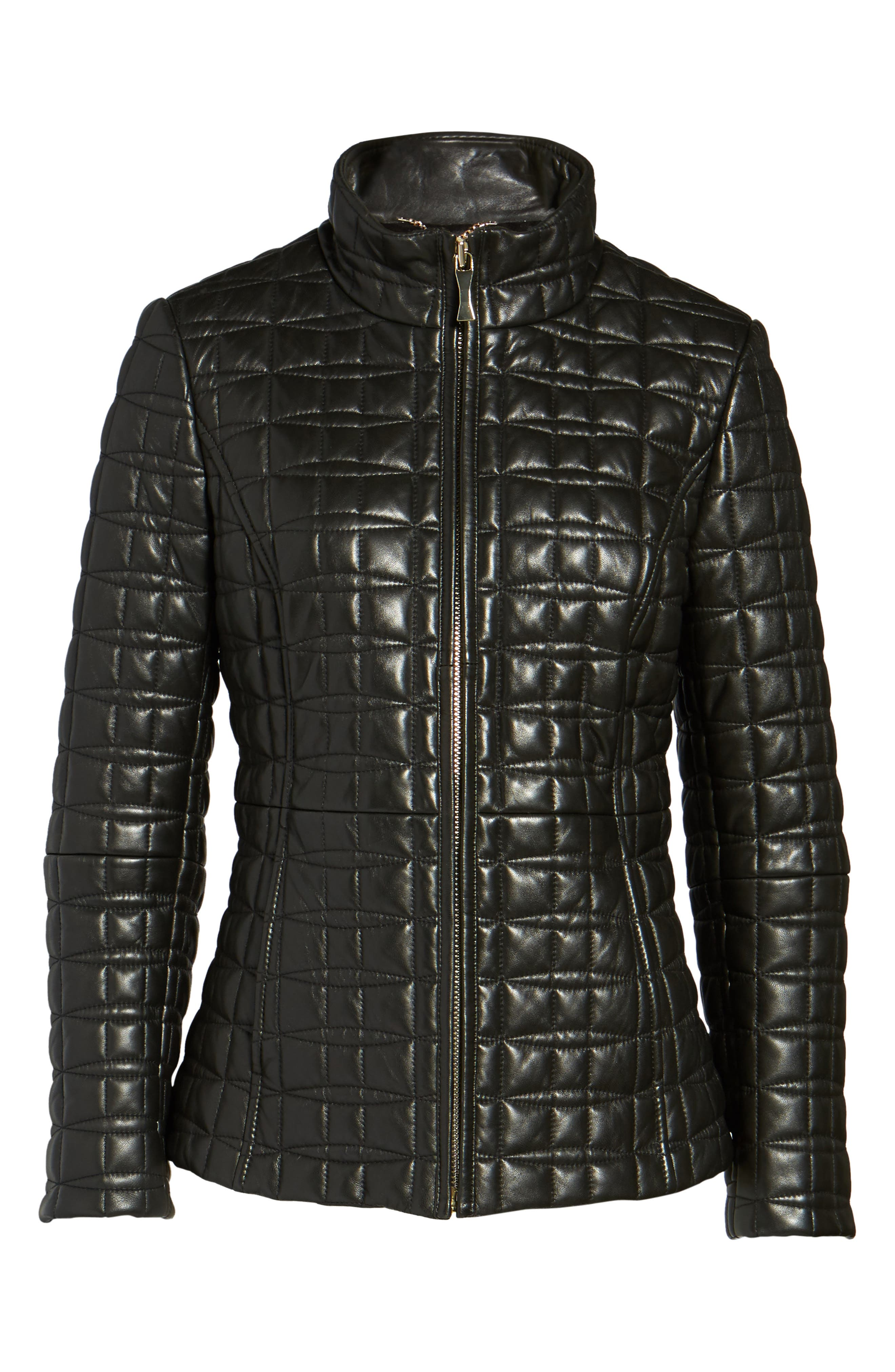 quilted leather jacket,                             Alternate thumbnail 5, color,                             BLACK