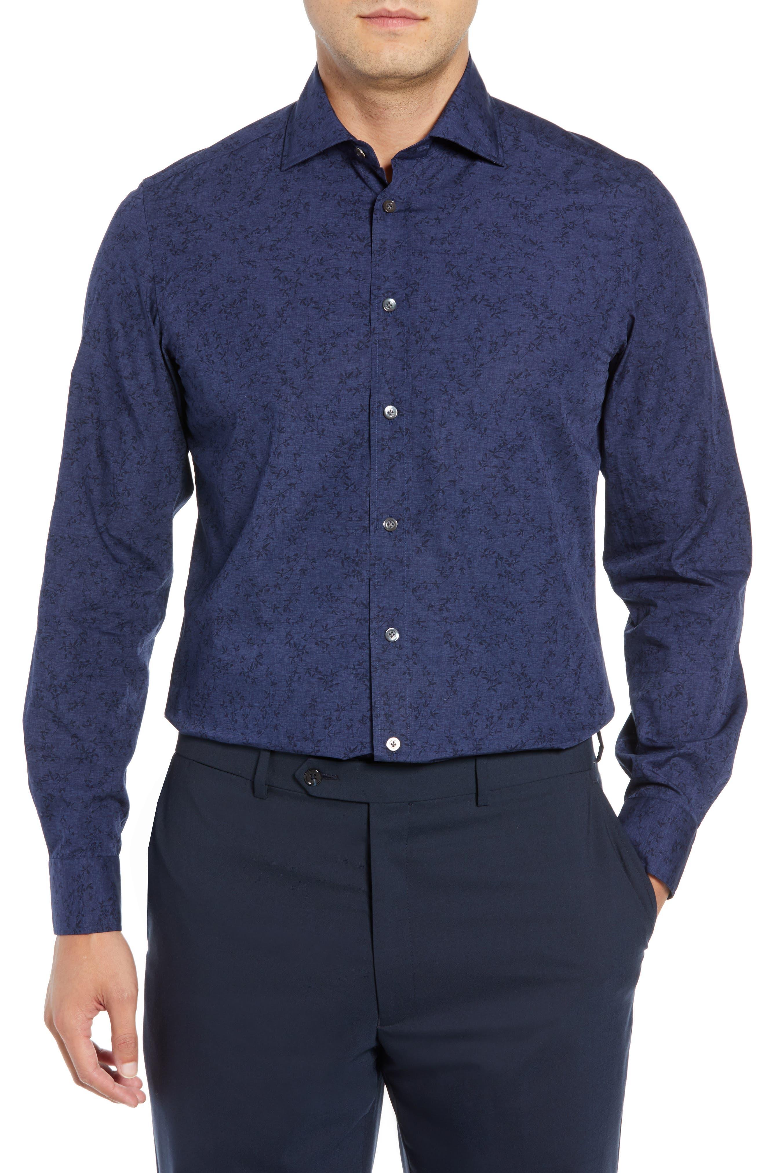 Slim Fit Print Dress Shirt,                             Main thumbnail 1, color,                             NAVY