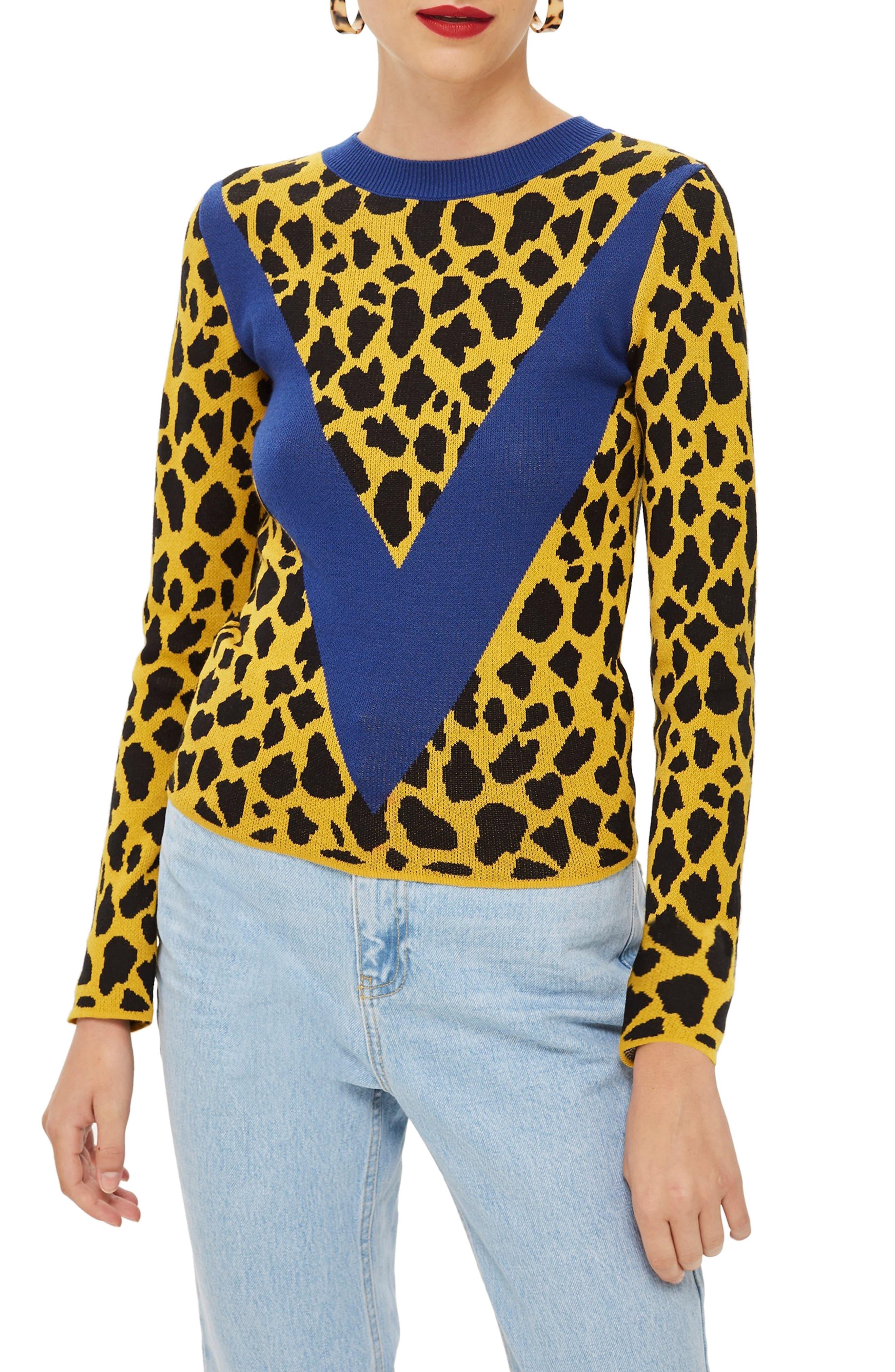 Leopard Chevron Sweater,                         Main,                         color, MUSTARD MULTI