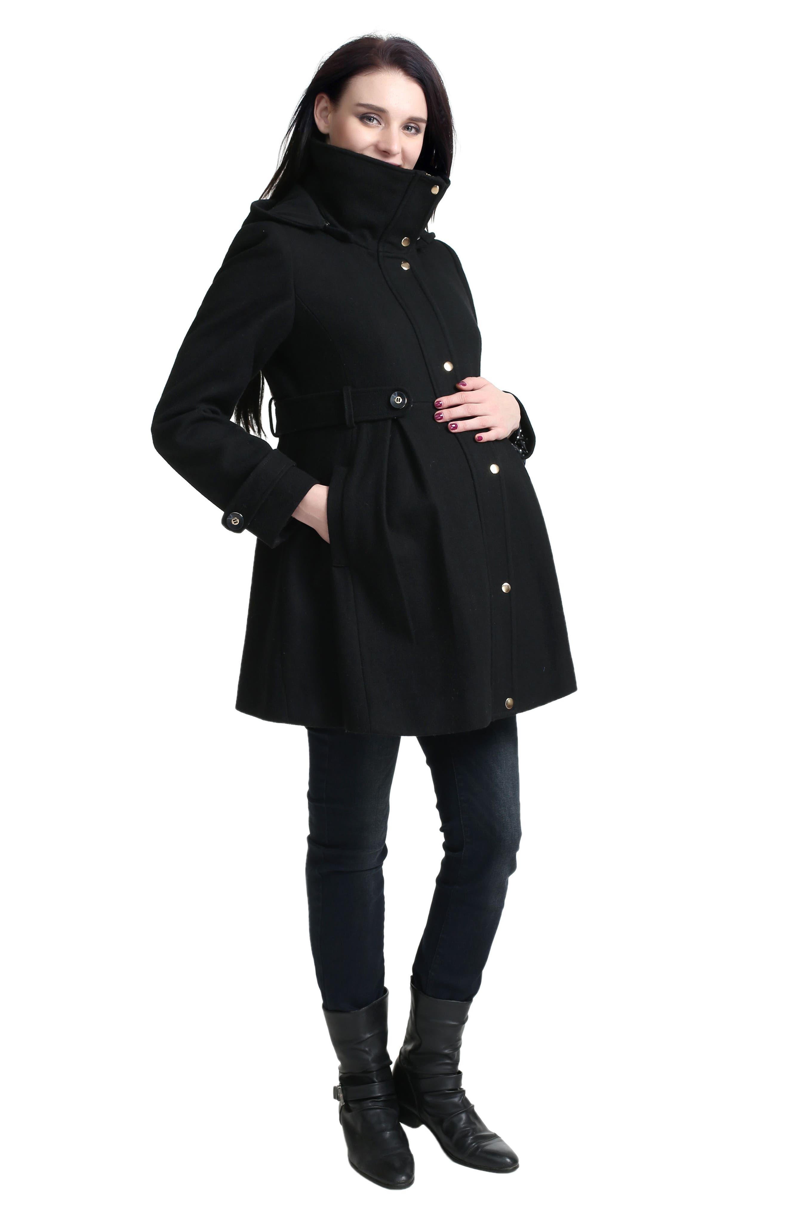 Olivia Wool Blend Maternity Coat,                             Alternate thumbnail 6, color,                             BLACK