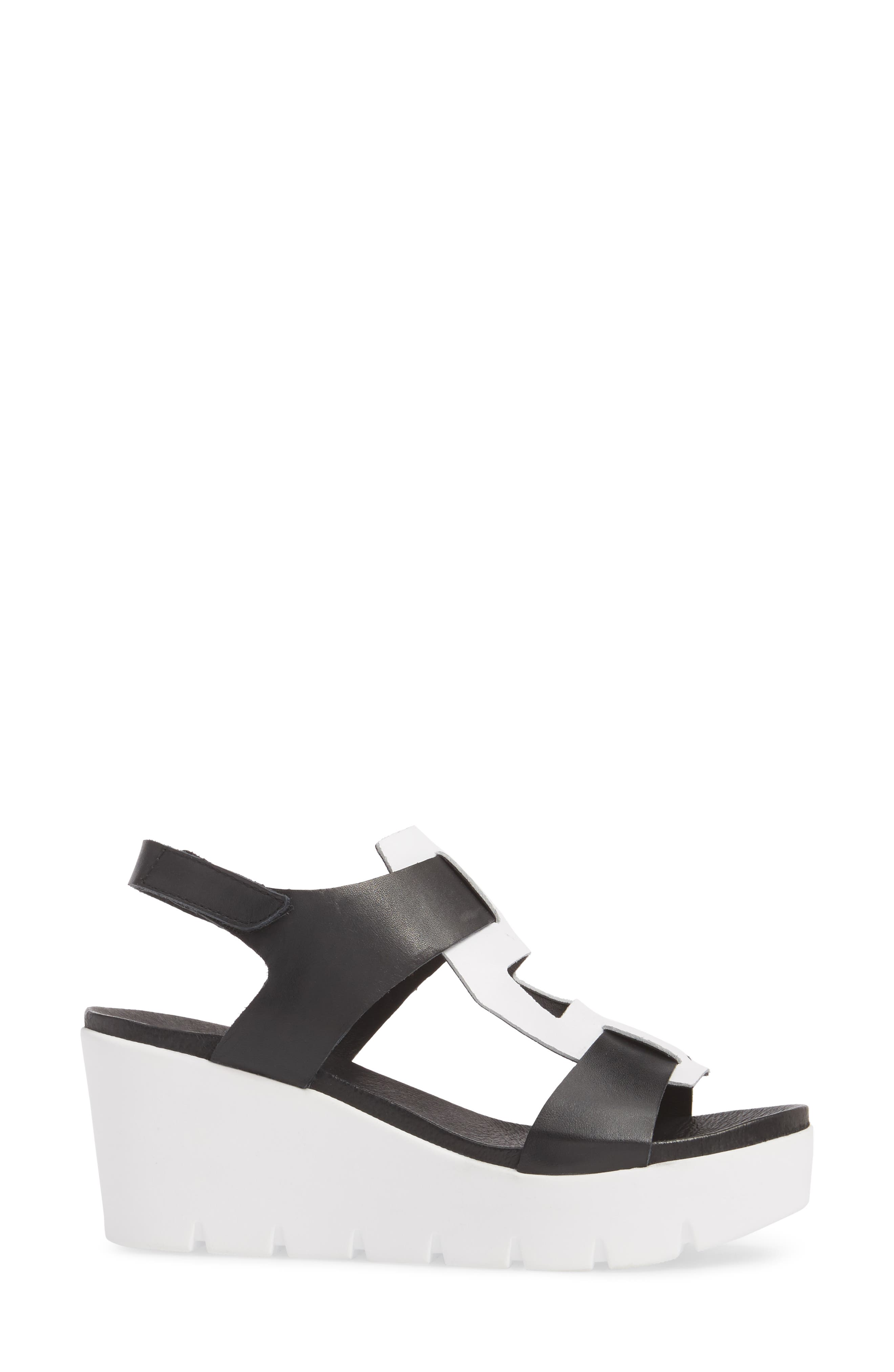 Somo Platform Wedge Sandal,                             Alternate thumbnail 3, color,                             BLACK/ WHITE SMOOTH LEATHER