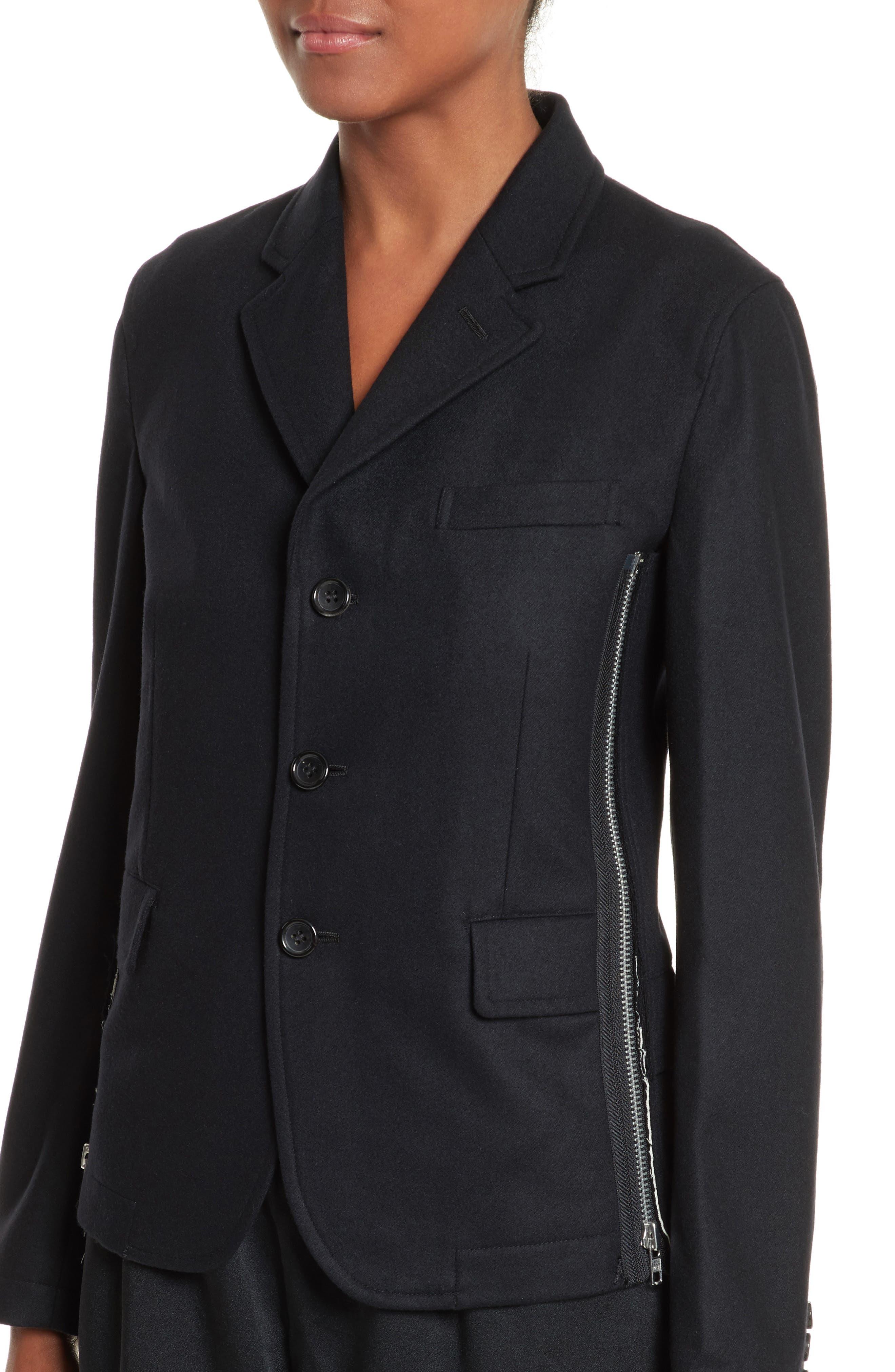 Zip Detail Wool Jacket,                             Alternate thumbnail 4, color,