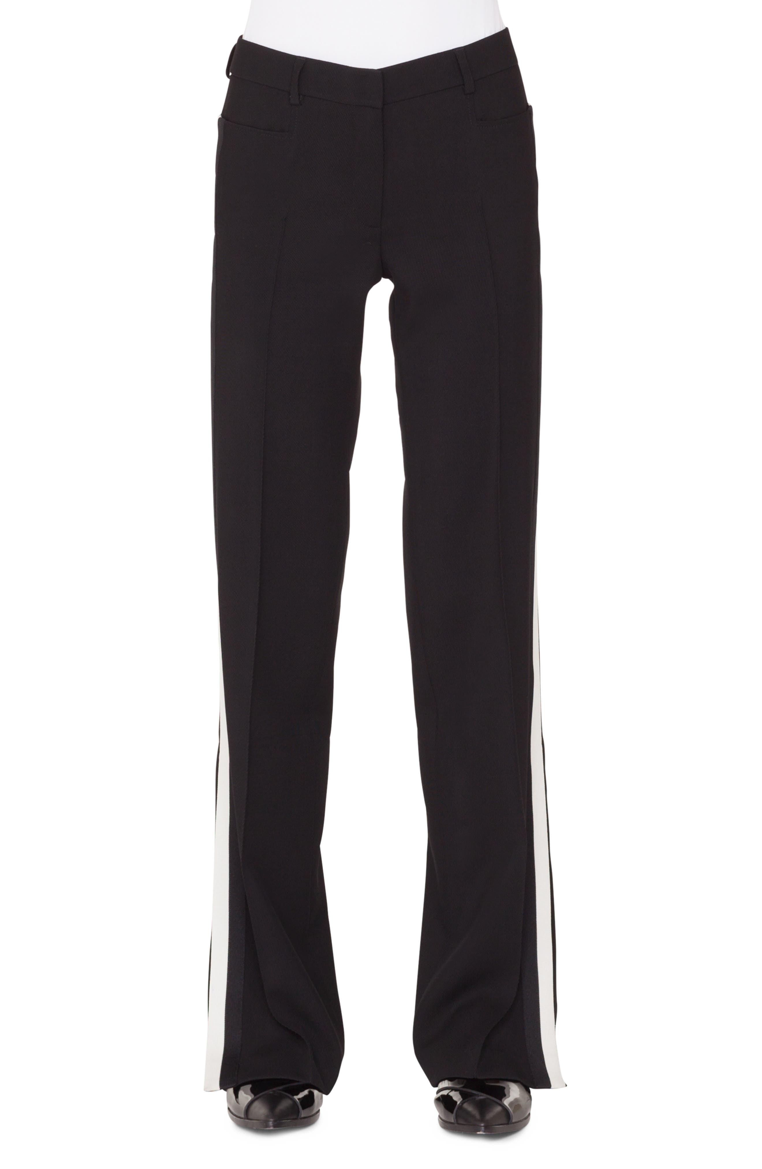 Mikka Wide-Leg Wool Tricot Pants W/Contrast Stripe in Nero