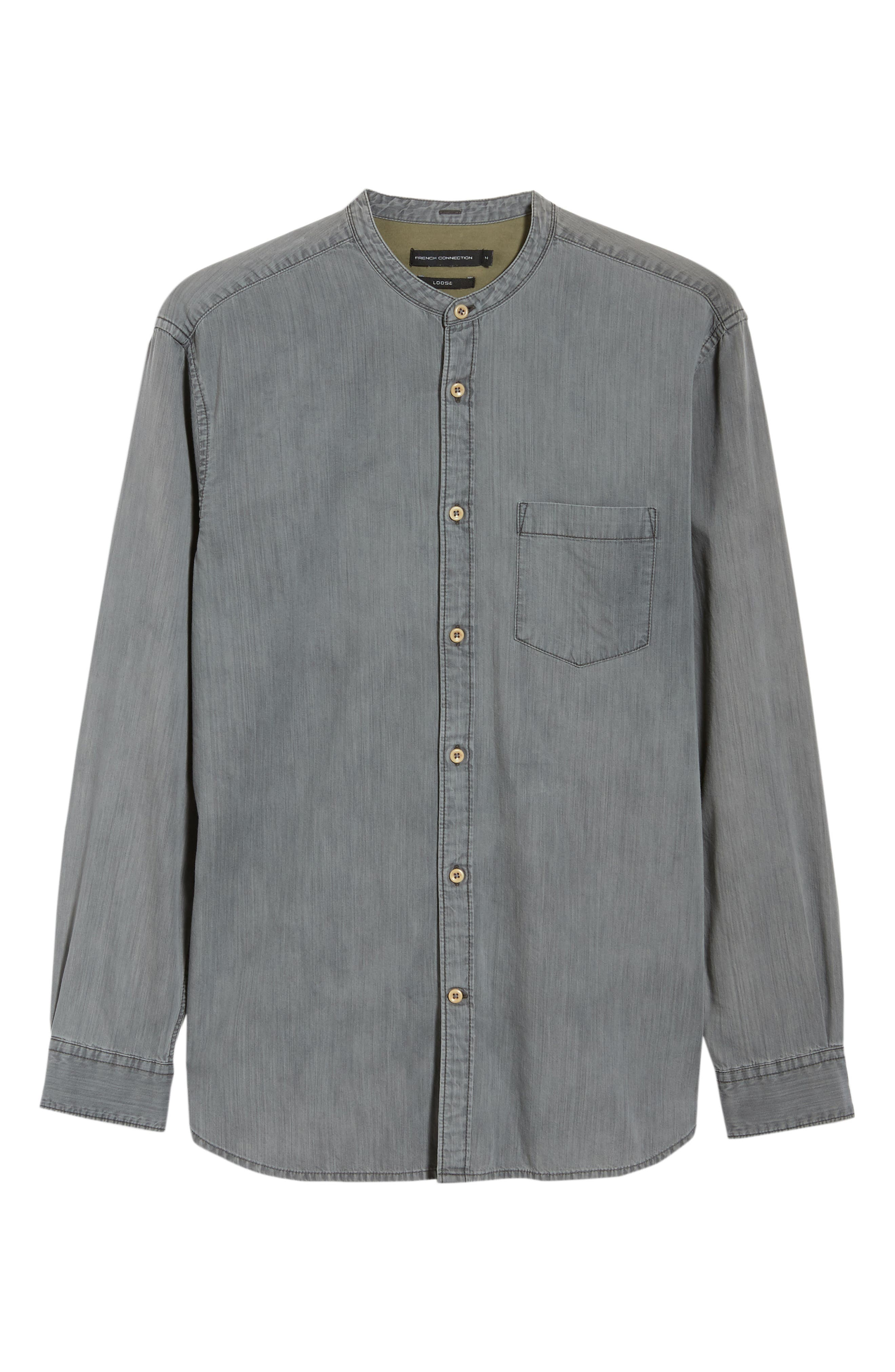 Slim Fit Band Collar Denim Shirt,                             Alternate thumbnail 5, color,                             GREY