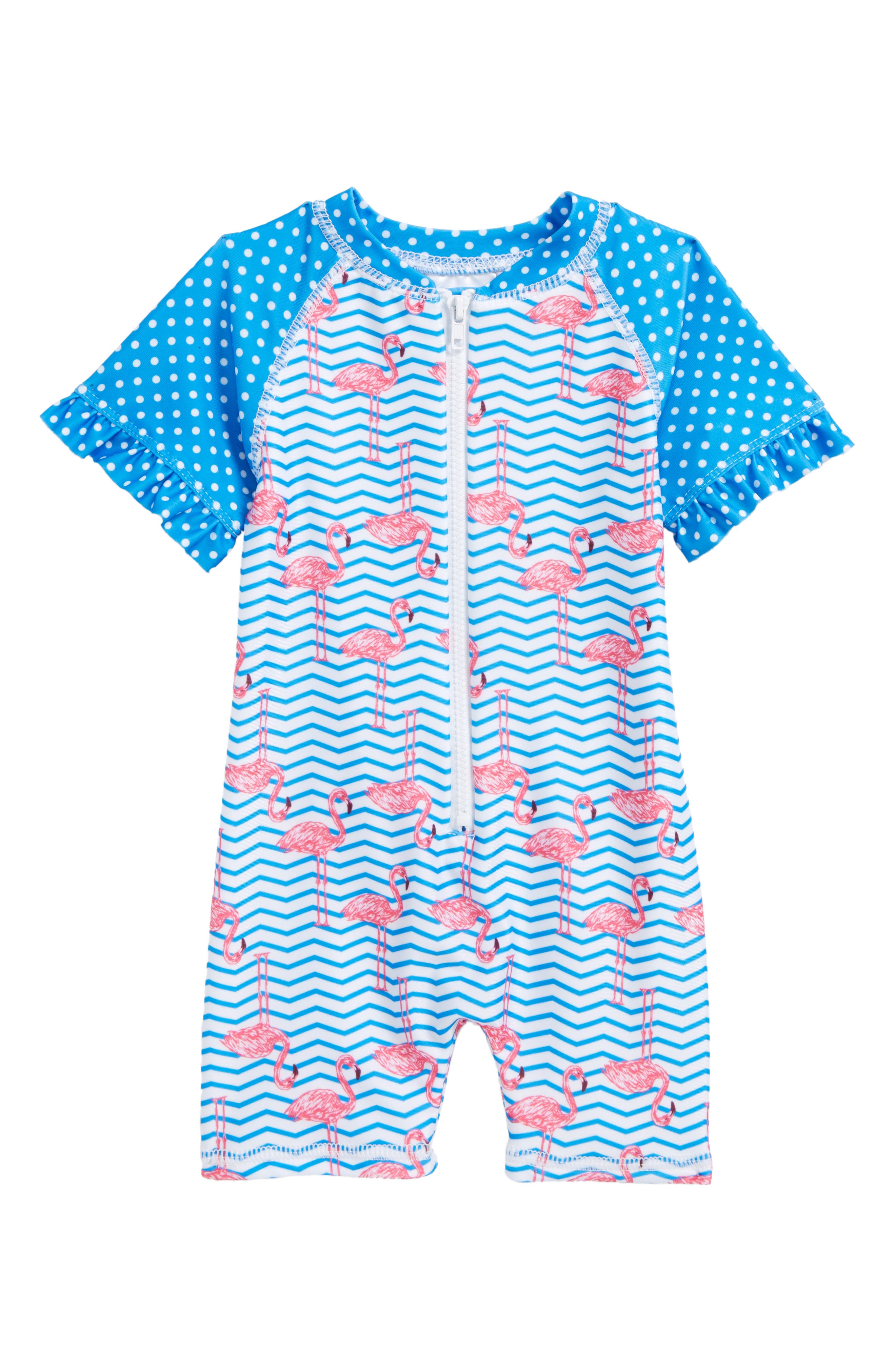 Zigzag Flamingos One-Piece Rashguard Swimsuit,                         Main,                         color, 439