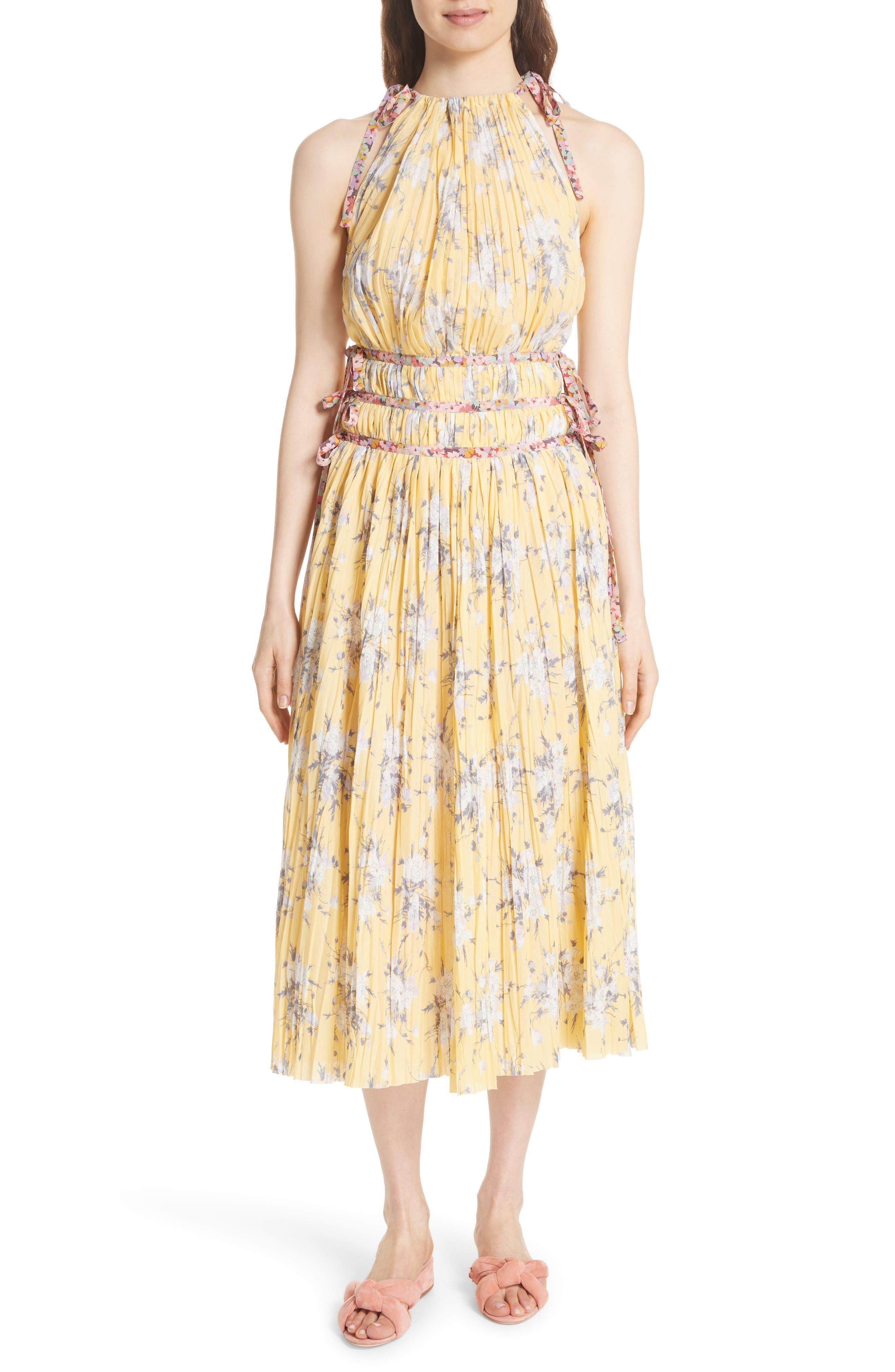 Pleat Midi Dress,                             Main thumbnail 1, color,