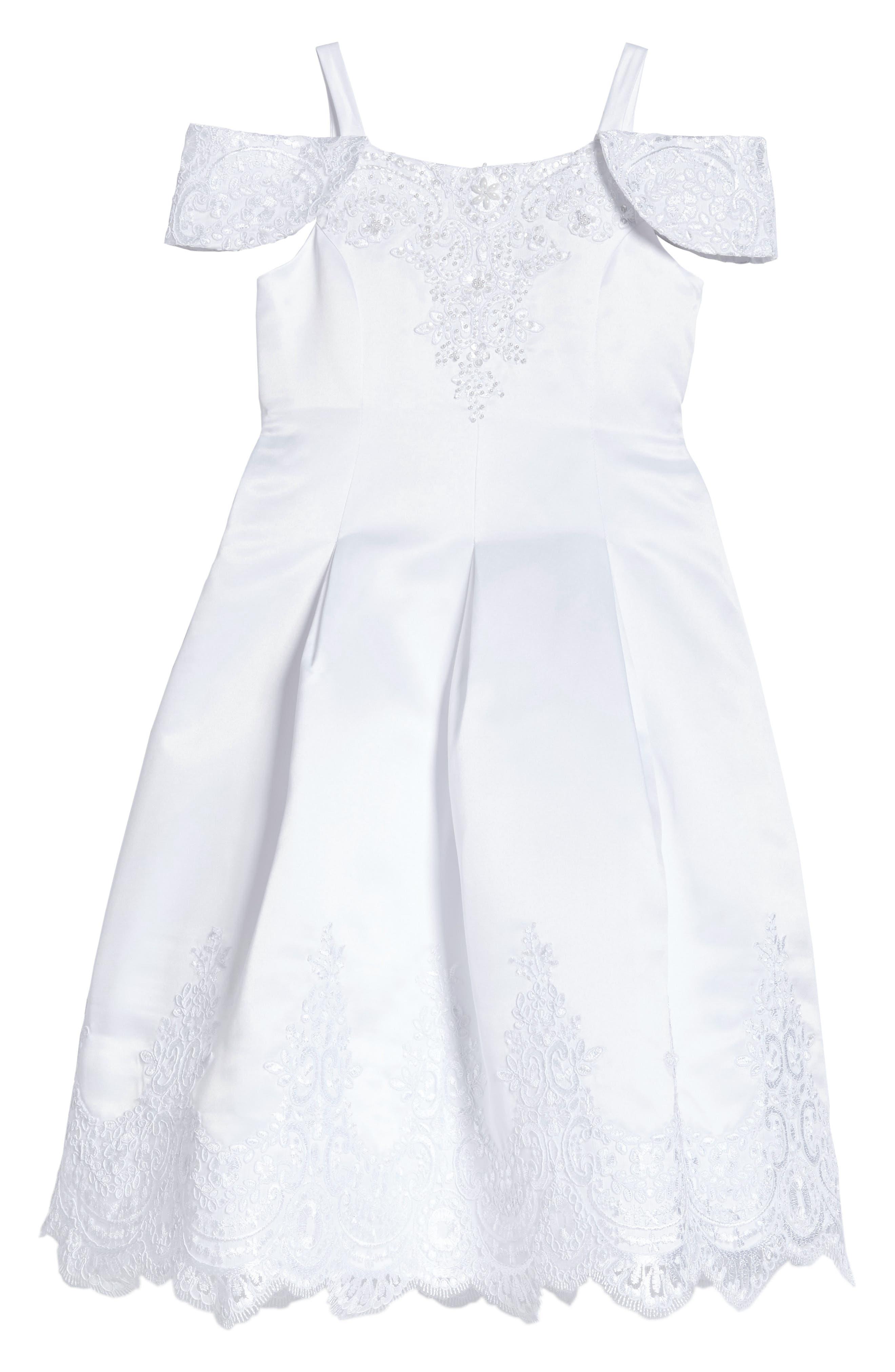 Embroidered Satin Dress,                             Main thumbnail 1, color,