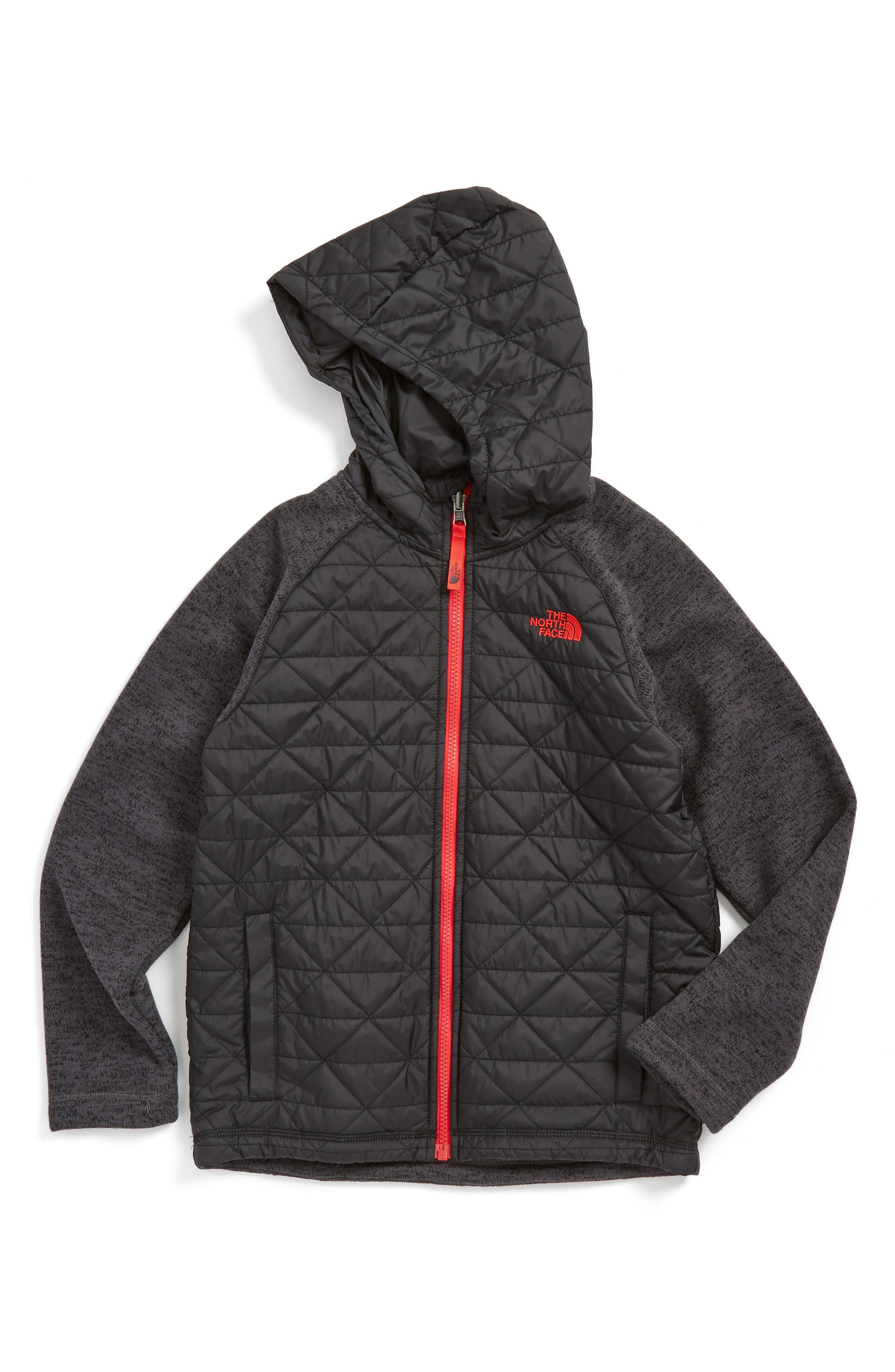 Water Repellent Quilted Sweater Fleece Hoodie,                         Main,                         color, TNF BLACK