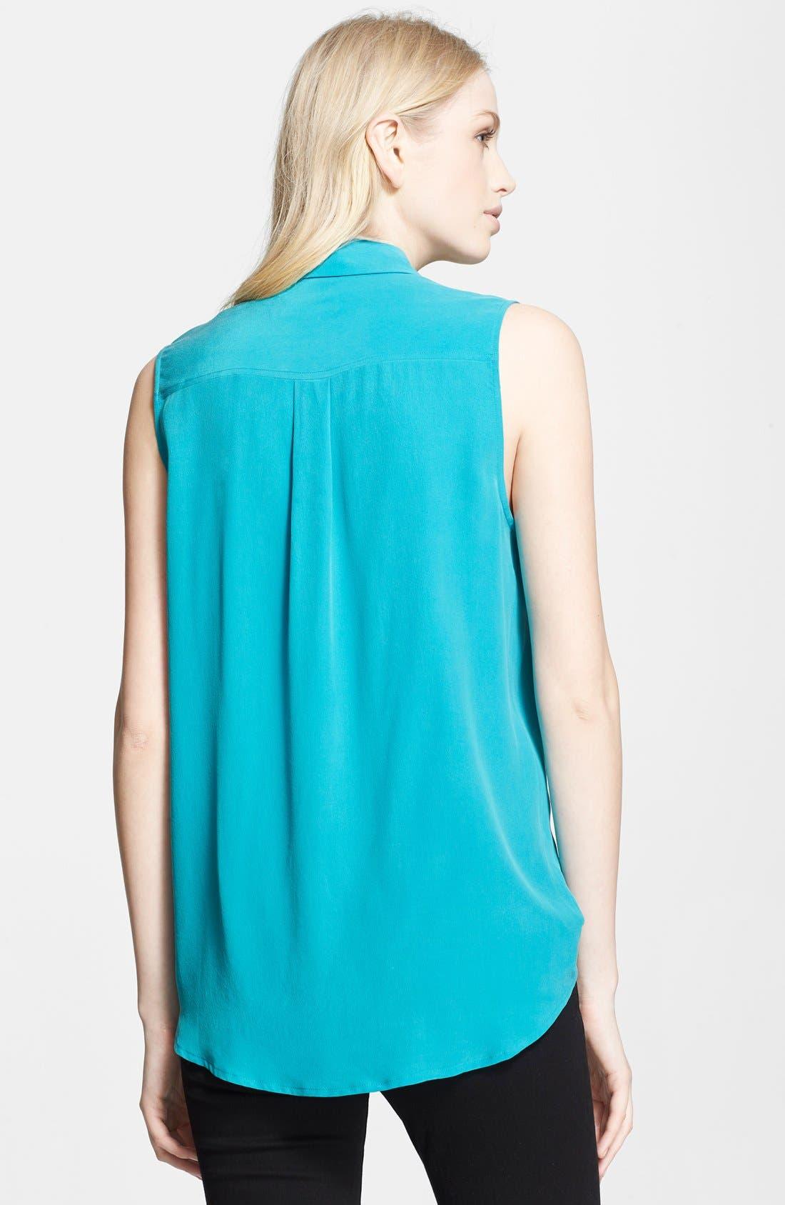 'Slim Signature' Sleeveless Silk Shirt,                             Alternate thumbnail 119, color,