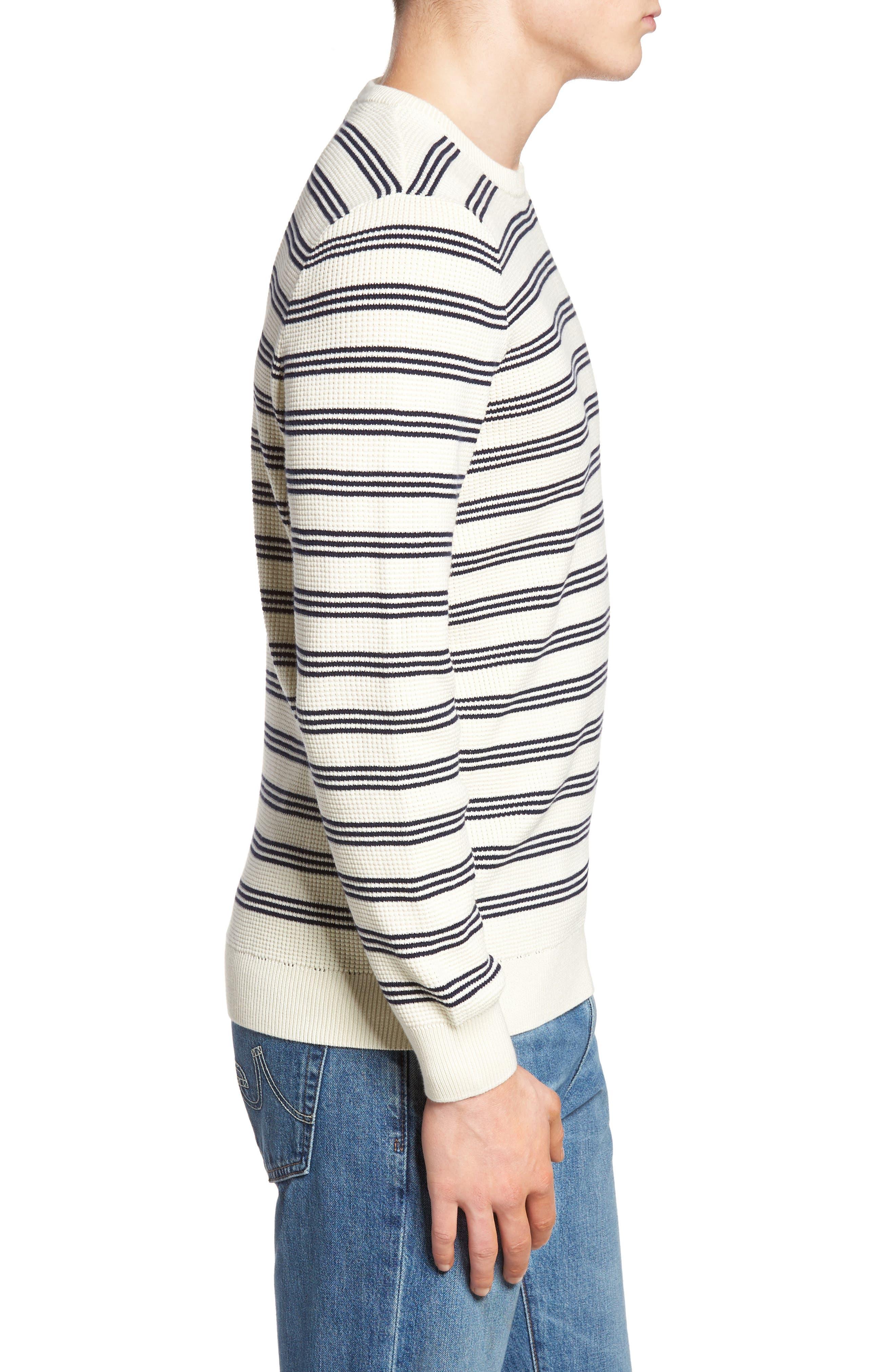 Waffle Stitch Stripe Sweater,                             Alternate thumbnail 3, color,                             028