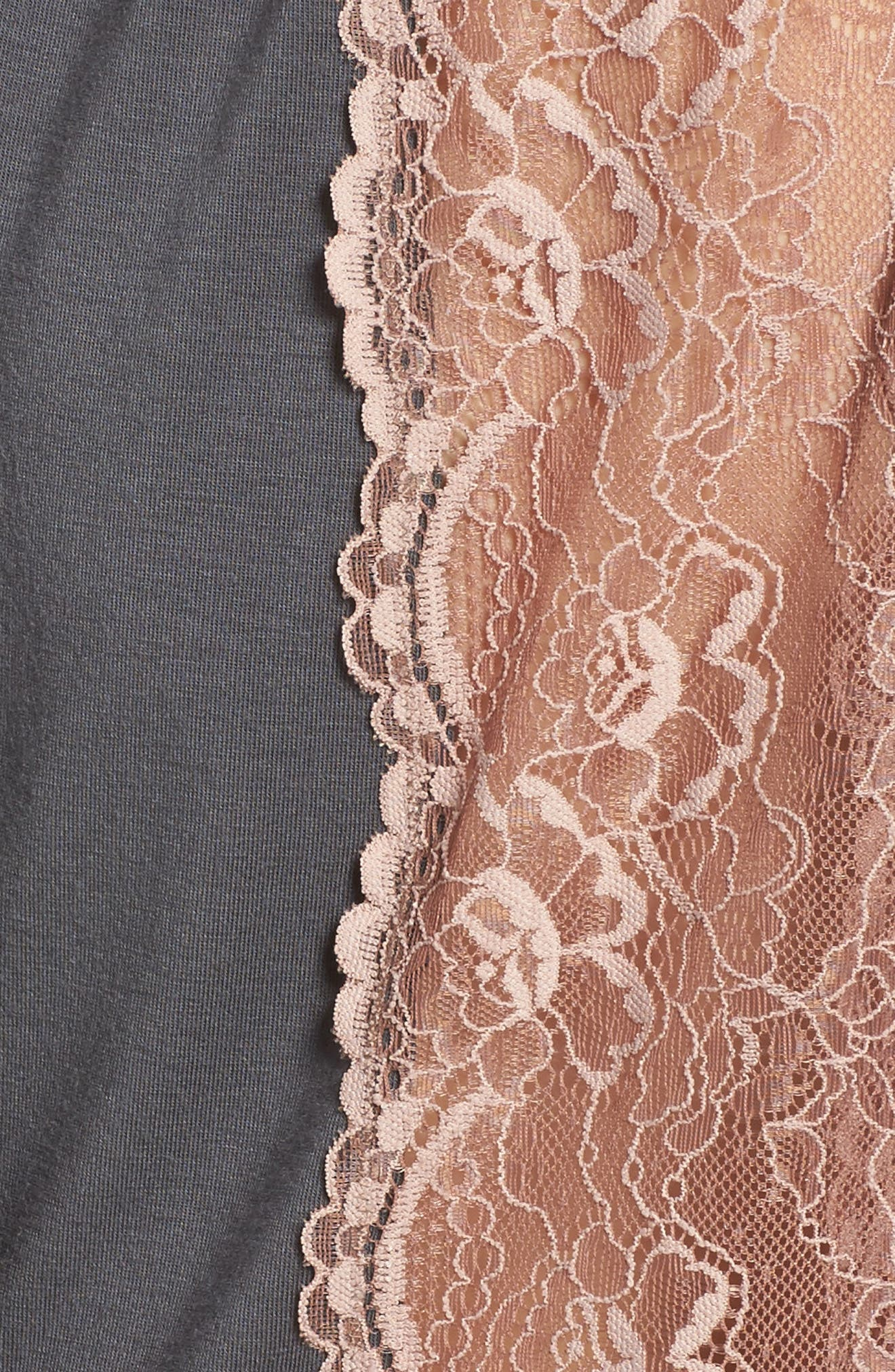 Lace Trim Robe,                             Alternate thumbnail 5, color,                             SLATE WITH JAVA LACE