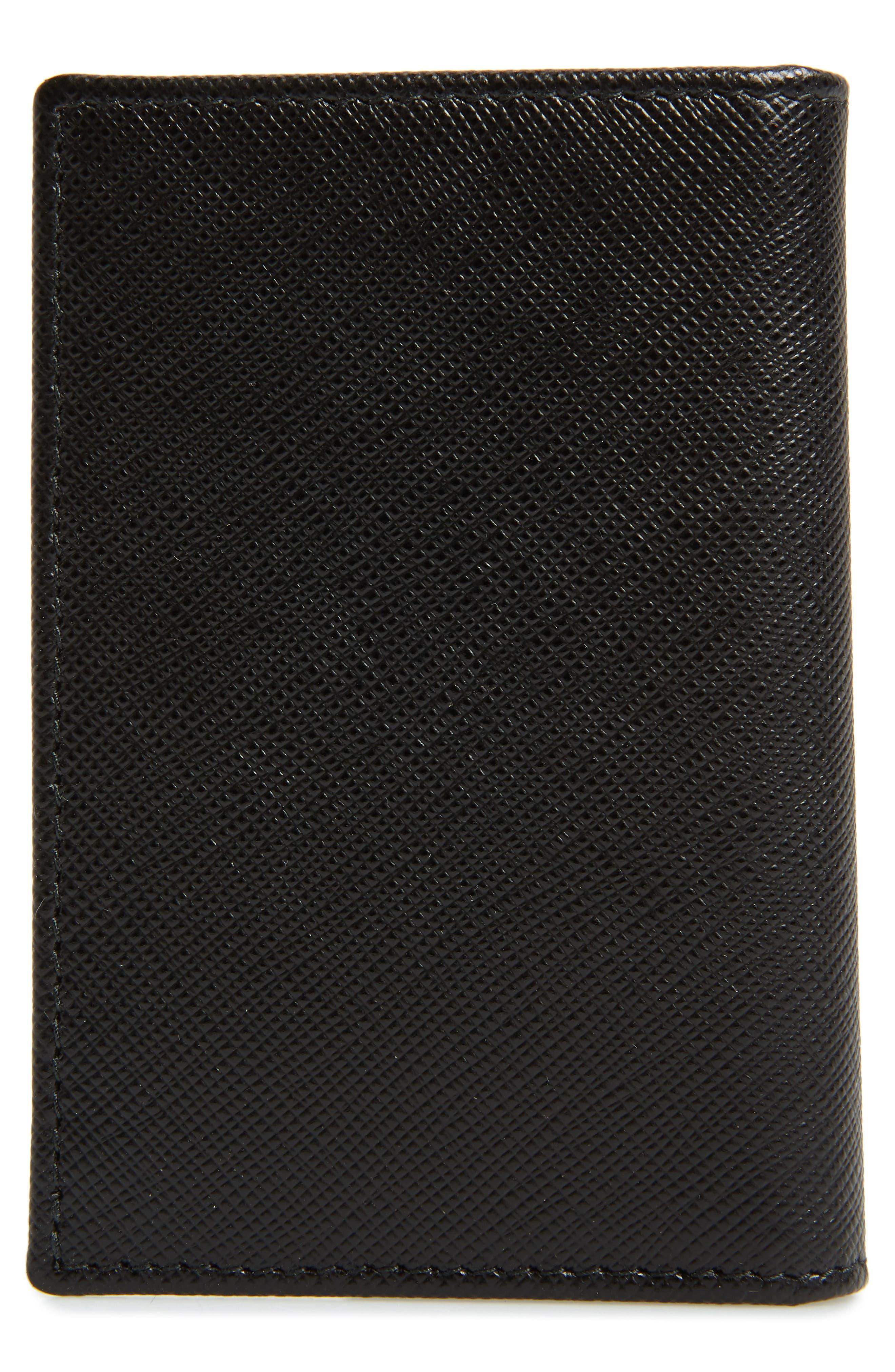 Long Saffiano Leather Card Case,                             Alternate thumbnail 3, color,                             001