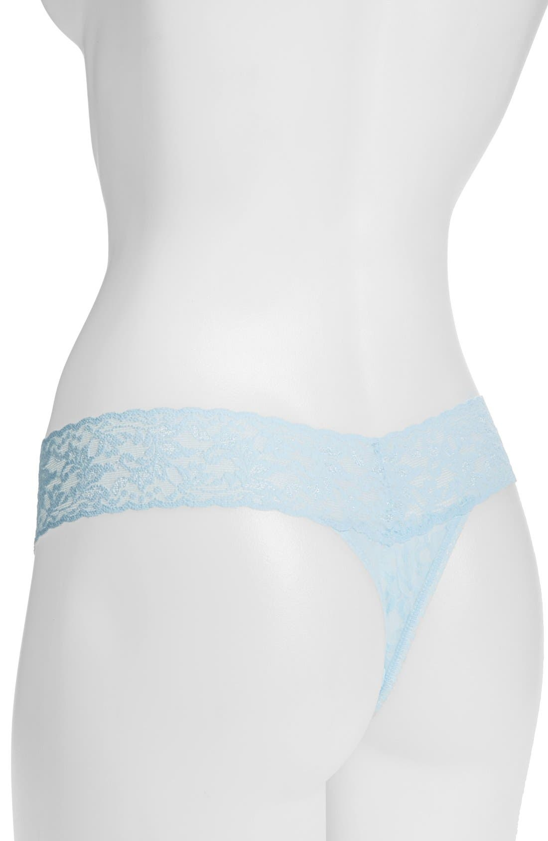 'I Do' Swarovski Crystal Low Rise Thong,                             Alternate thumbnail 3, color,                             POWDER BLUE