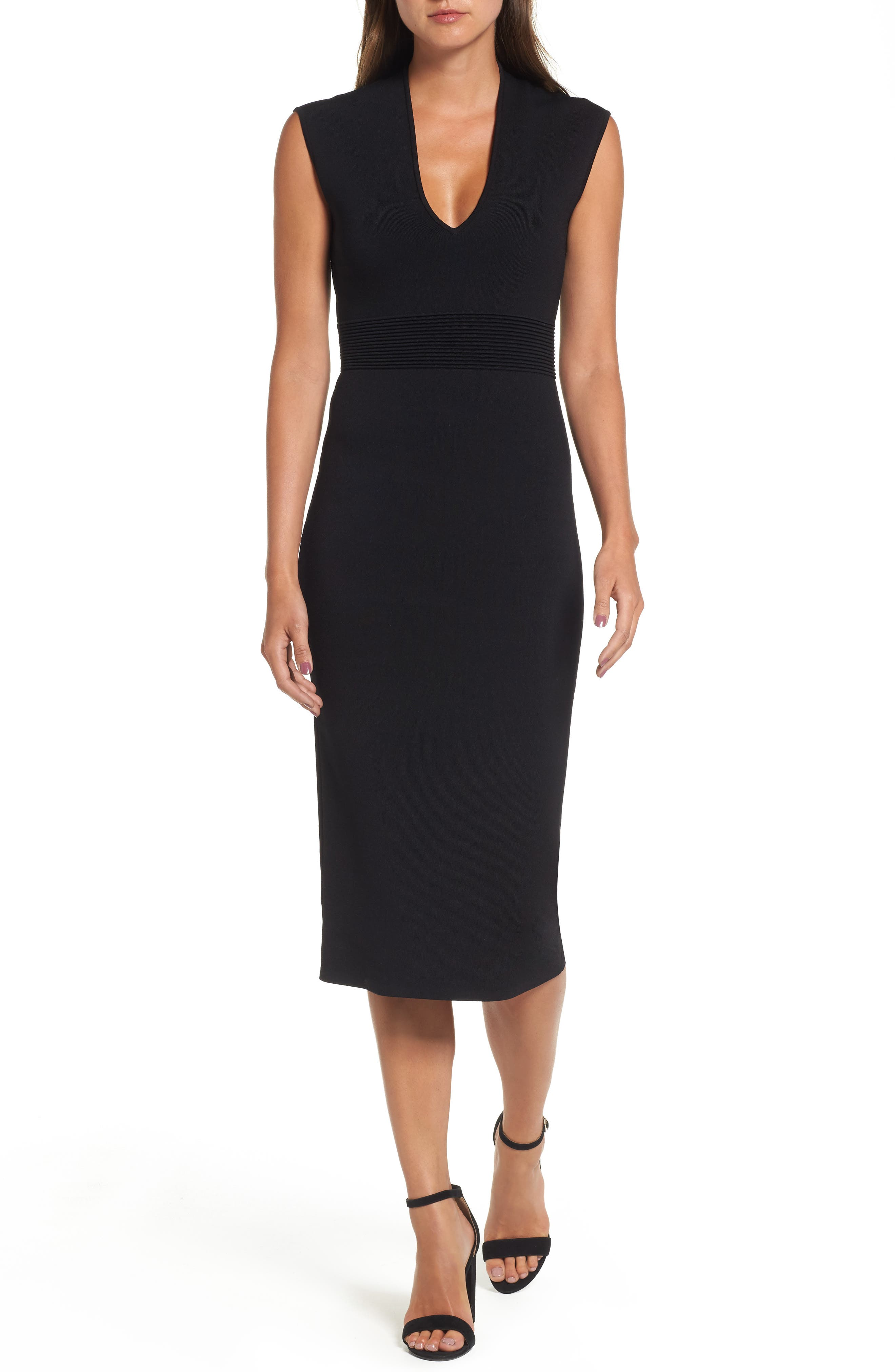 Rib Waist Knit Midi Dress,                         Main,                         color, BLACK