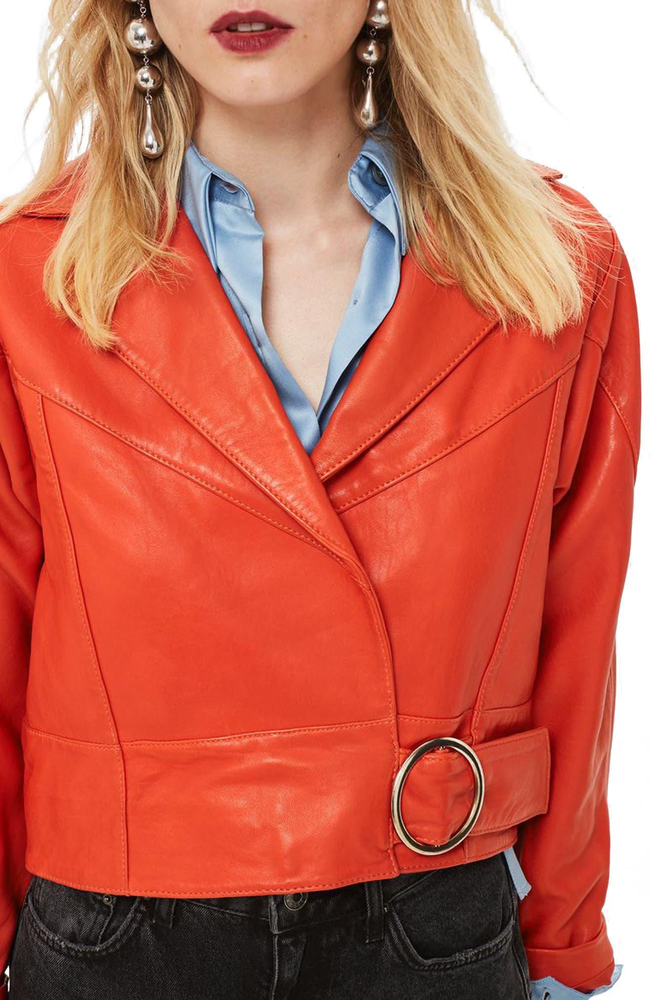 Vintage Coats & Jackets | Retro Coats and Jackets Womens Topshop Crop Leather Moto Jacket $215.97 AT vintagedancer.com