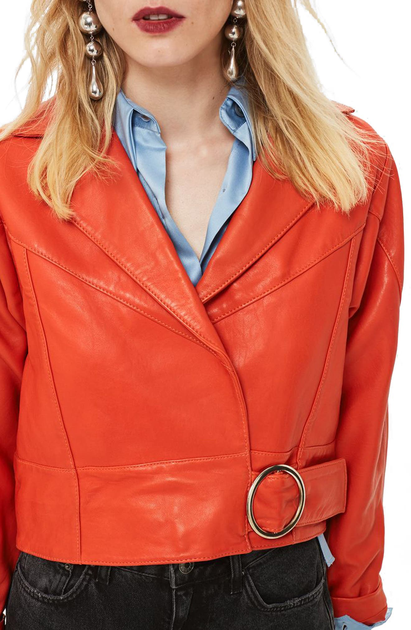 Crop Leather Moto Jacket,                             Main thumbnail 1, color,                             RED