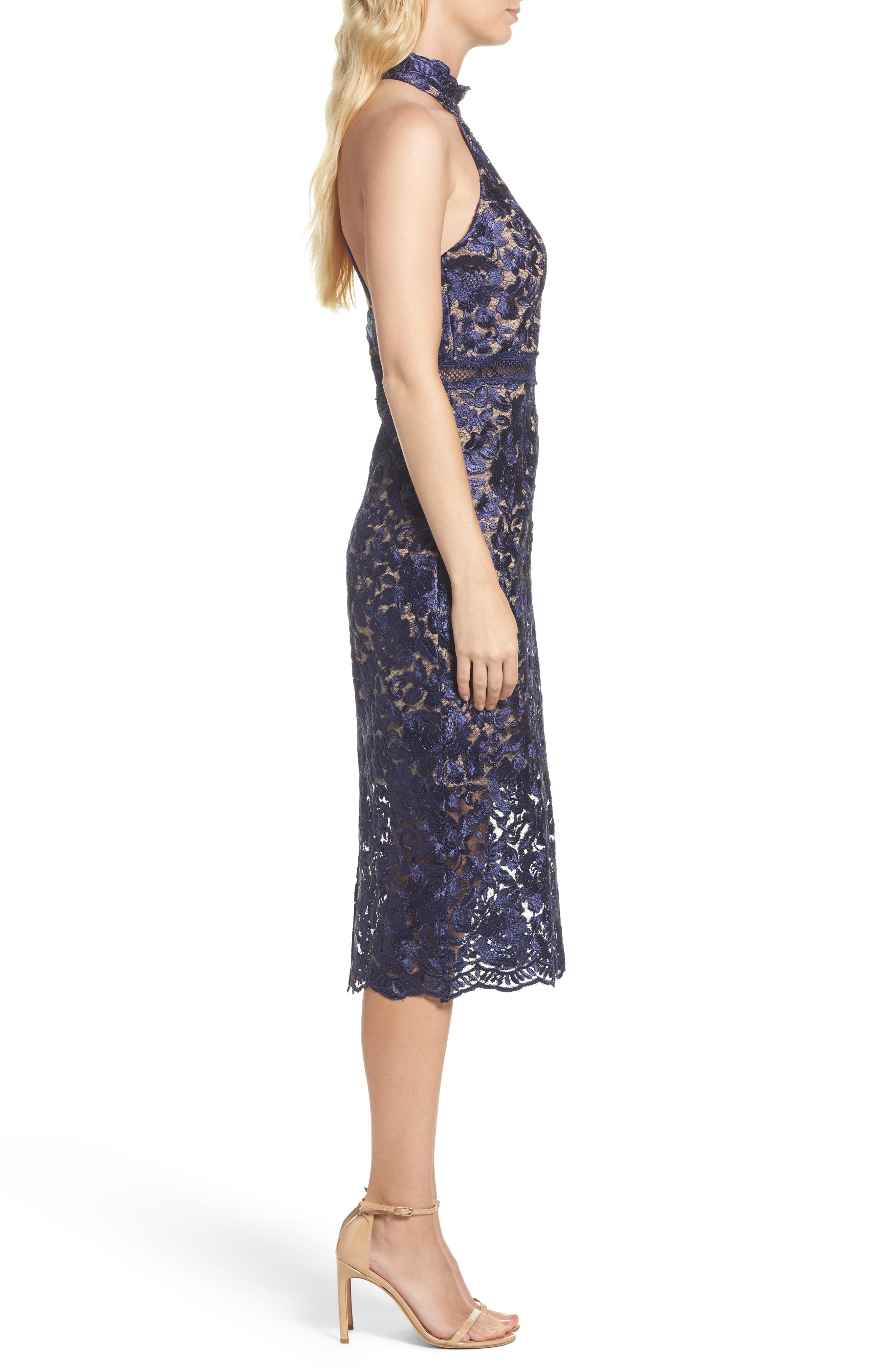 Illusion Lace Sheath Dress,                             Alternate thumbnail 3, color,                             001