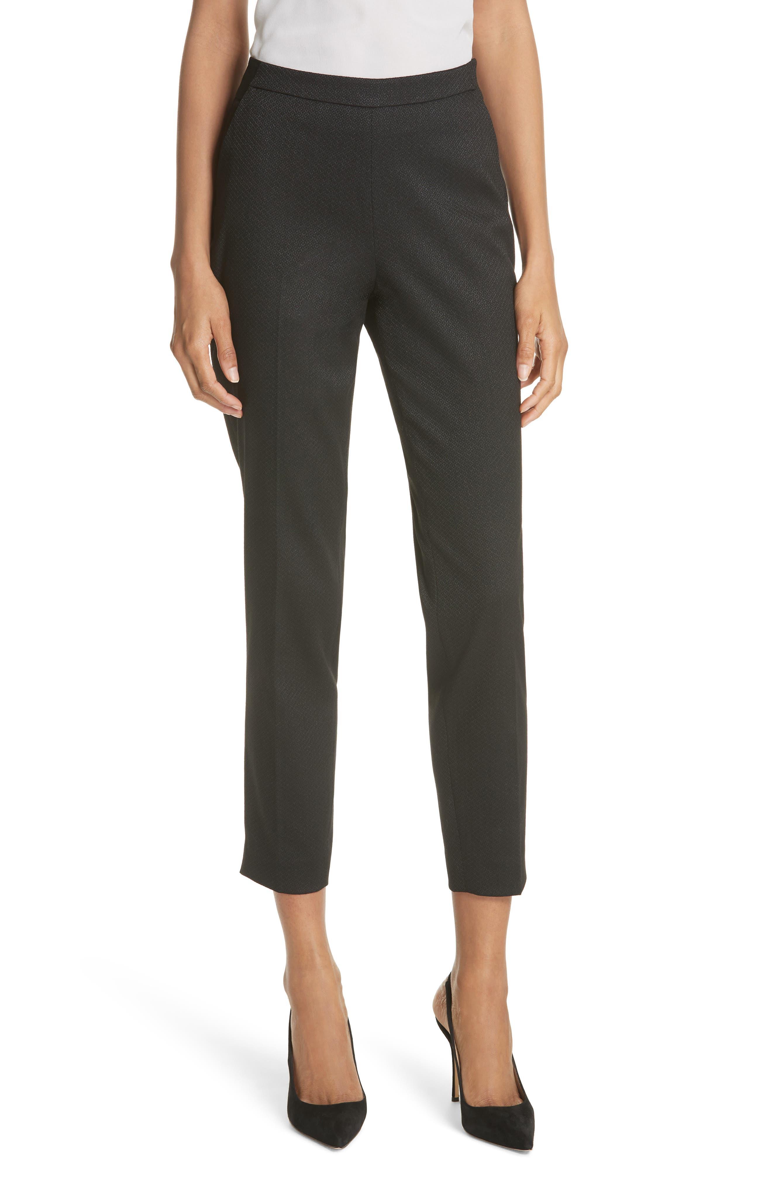 Textured Tailored Crop Pants,                             Main thumbnail 1, color,                             001