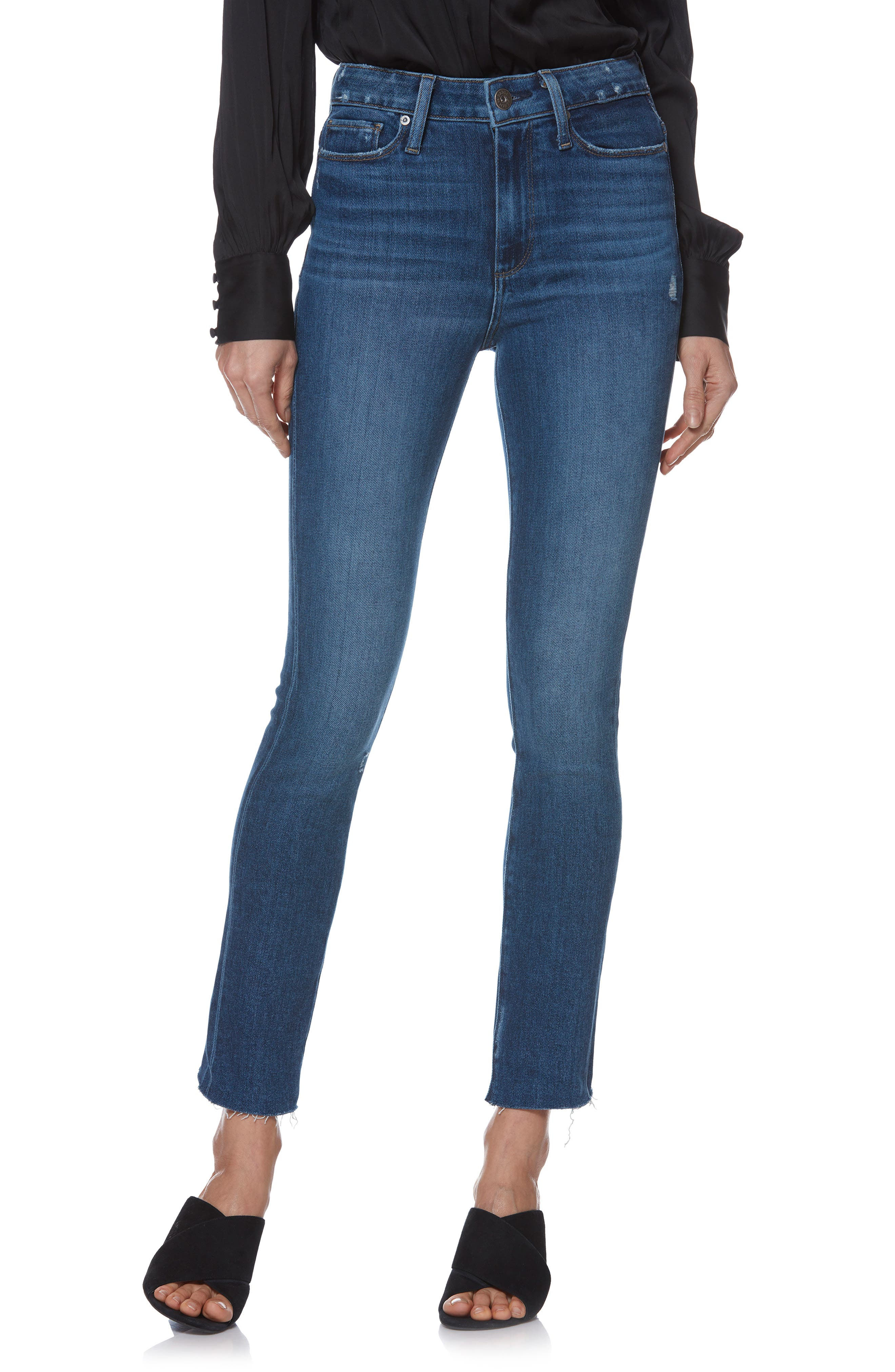 Margot Straight-Leg Ankle Jeans With Raw Hem in Braelynn